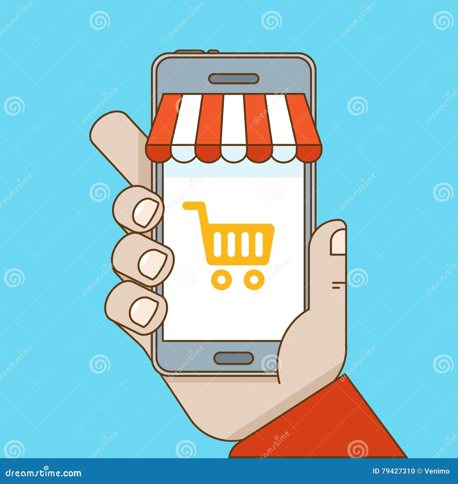 Online-shopping- och mobile-kommers begrepp