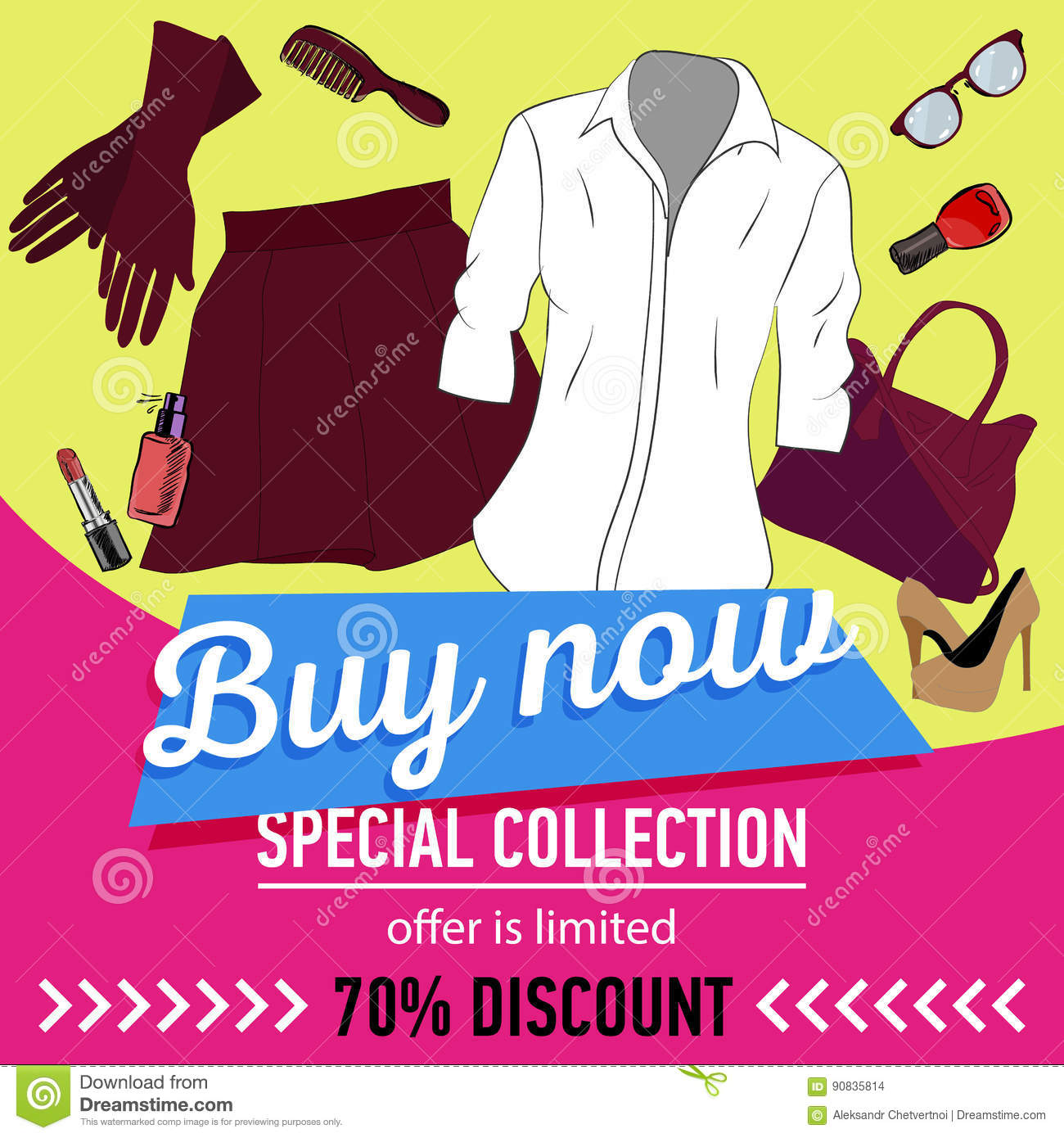 a4676add14d2 Online shopping. Online store for women. set of women`s clothing and  accessories. 70 discount. sale vector web banner