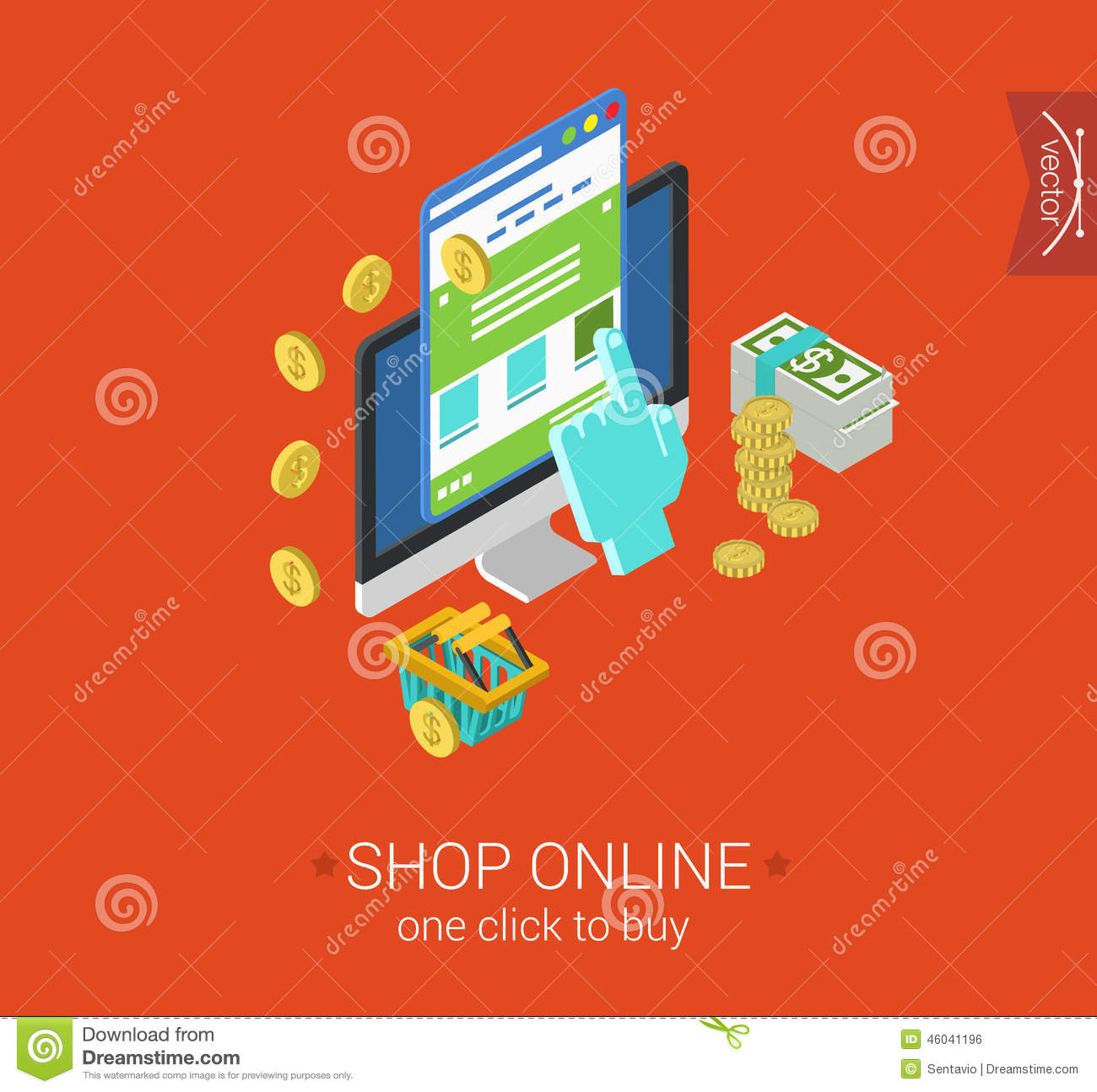 Buy From: Online Shopping Process Website Buy Click Pay Flat 3d