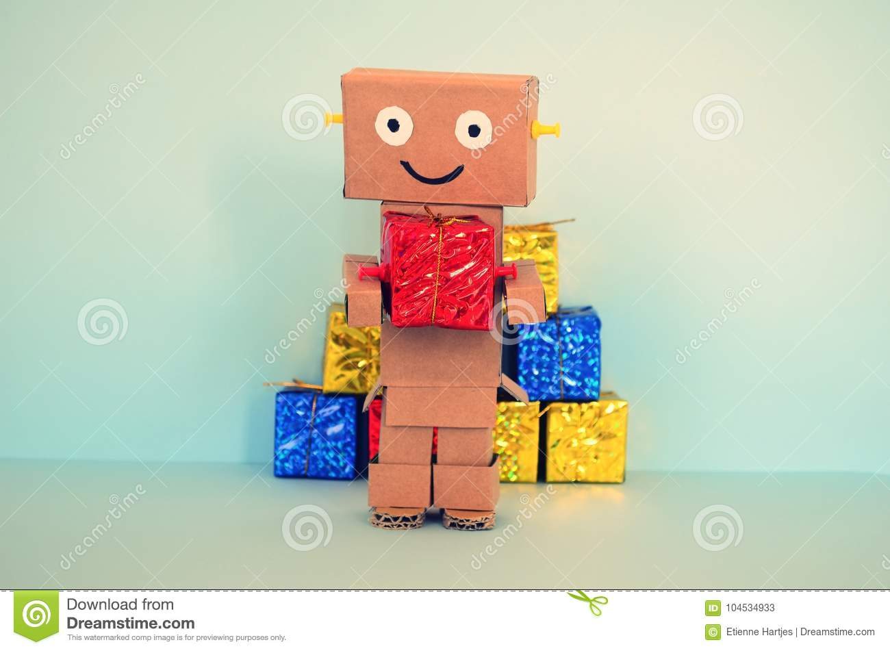Online Shopping, Robot Brings Christmas Gifts Stock Image - Image of ...