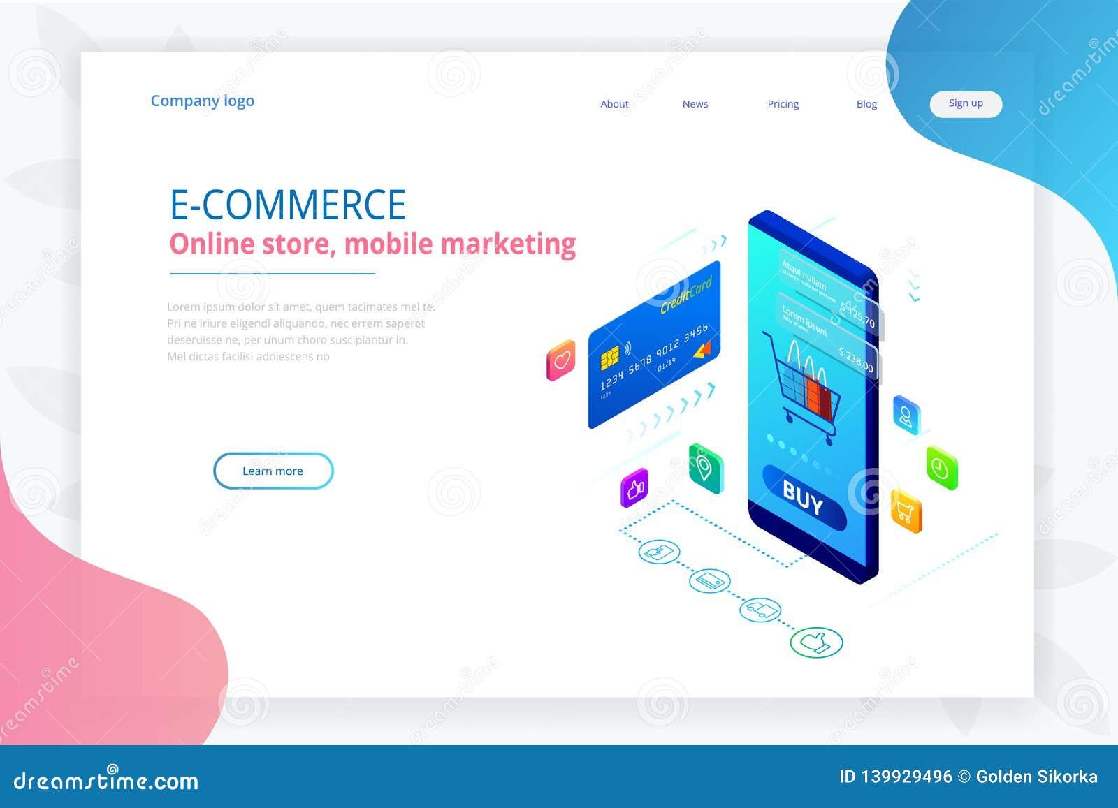 Online-shopping, Sale, Consumerism och online-lager Online-shoppa mall för isometrisk smart smartphone Mobil