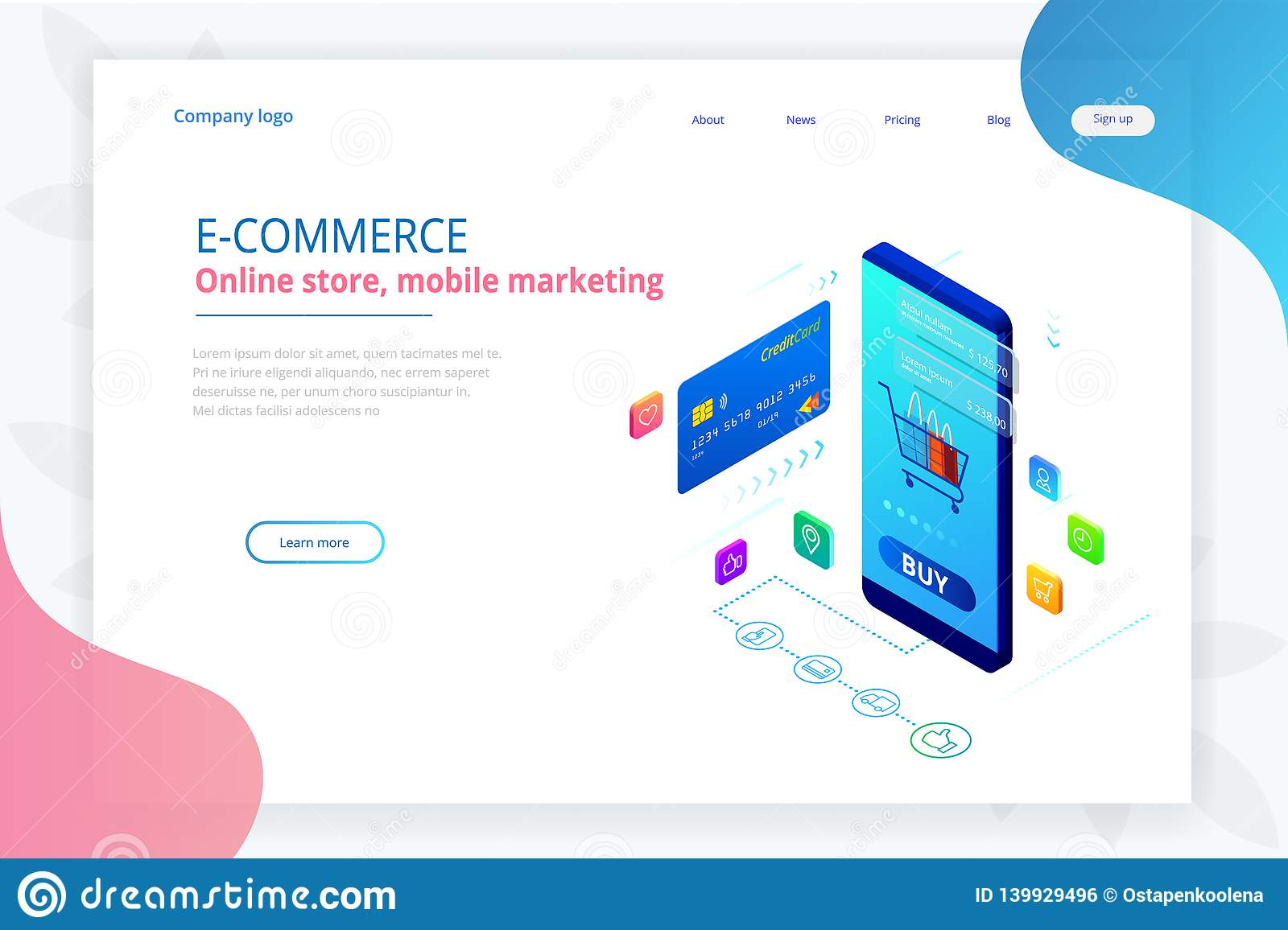 Online shopping, Sale, Consumerism and Online store. Isometric Smart smartphone online shopping template. Mobile