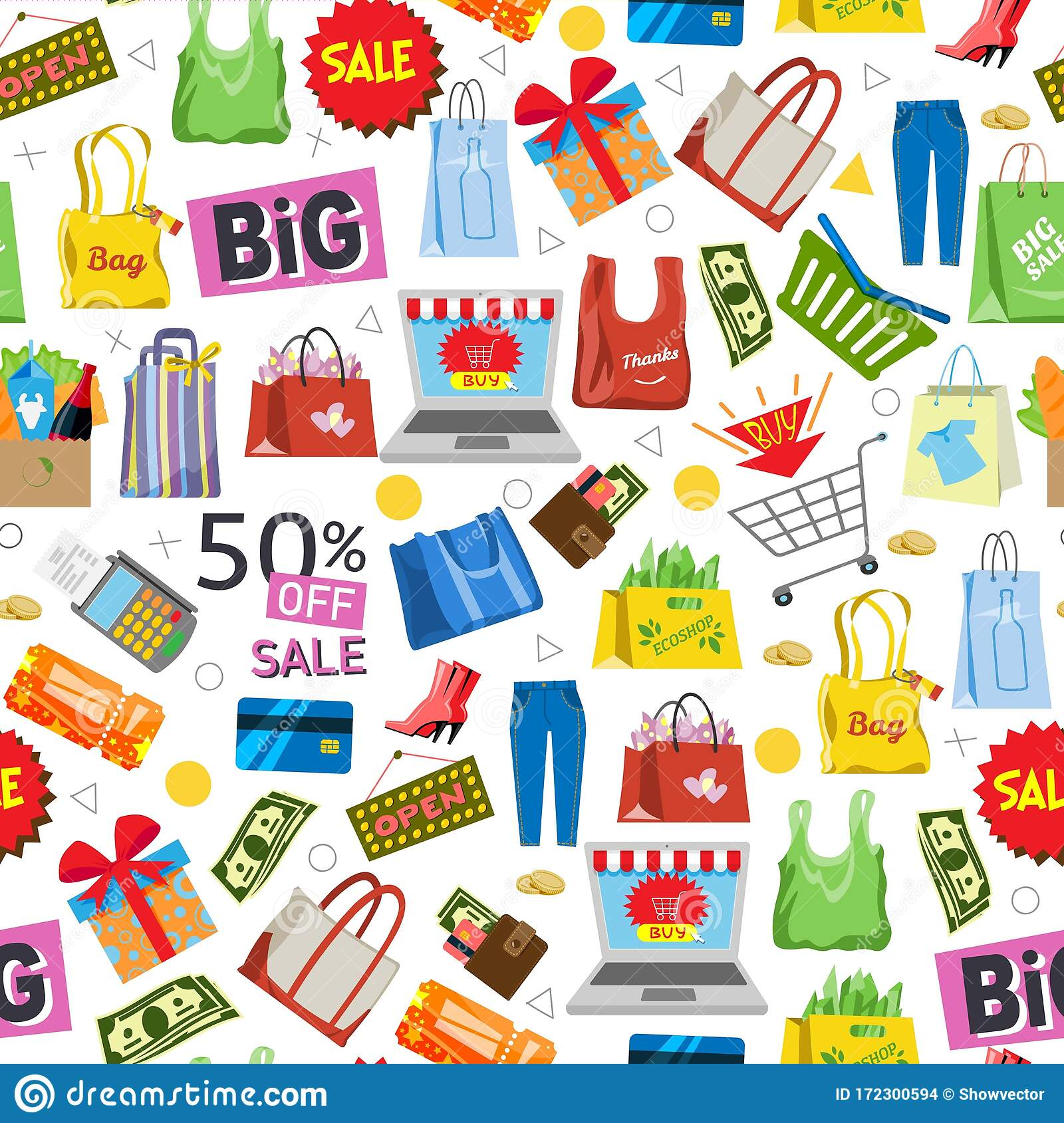 Online Shopping And Sale Items Gifts Shopping Bags Credit Cards And Discount Coupons Cash Money And Laptop Seamless Stock Vector Illustration Of Icons Conceptual 172300594