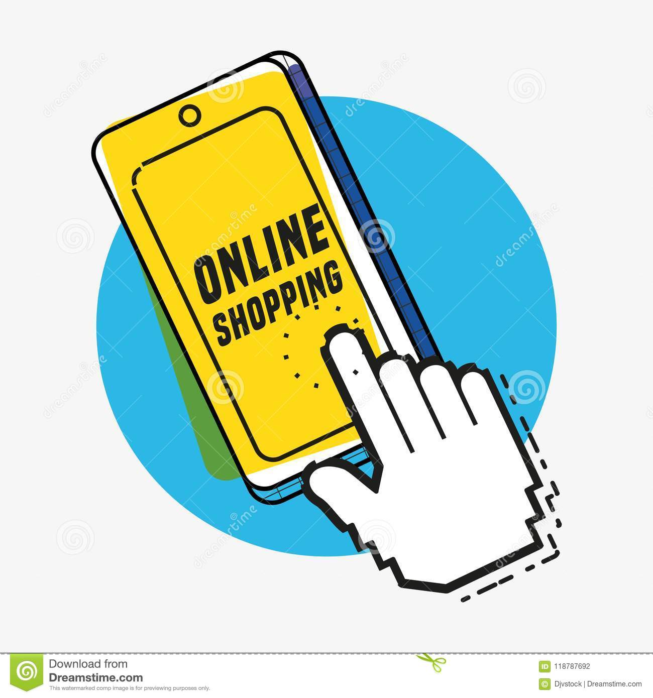 aa886f37474 Online shopping with smartphone pop art style vector illustration design.  More similar stock illustrations