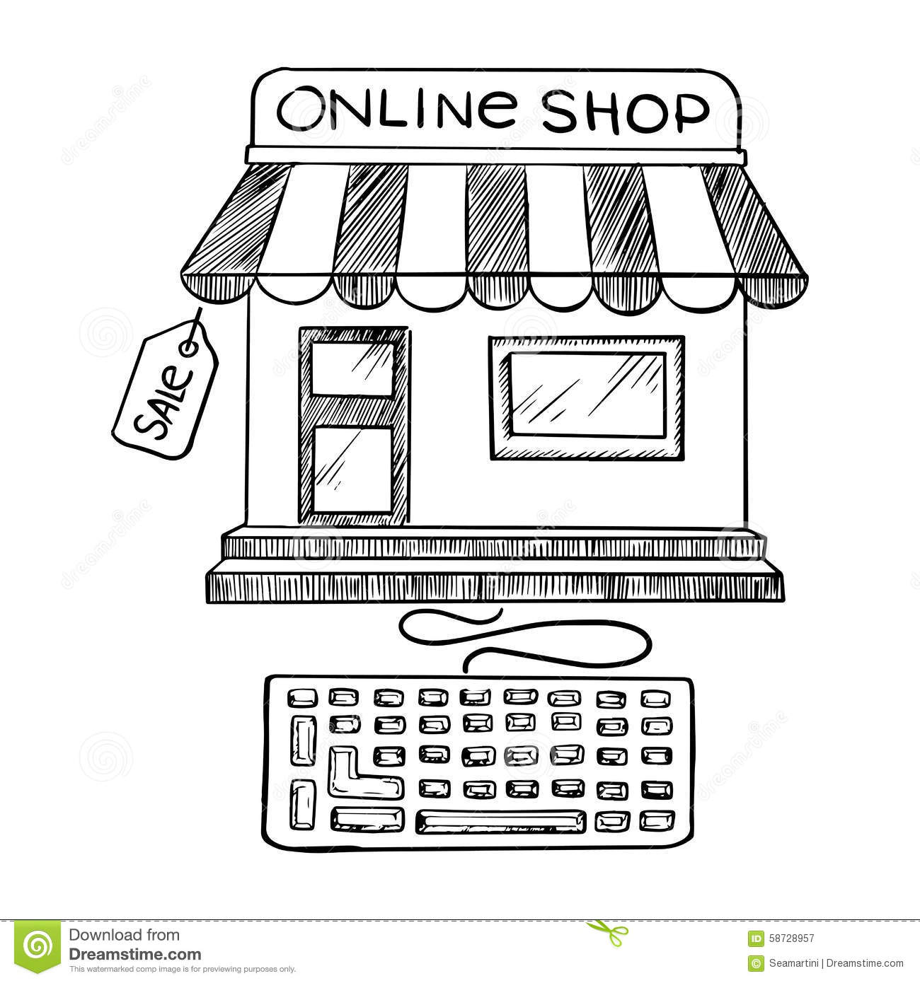 Online shopping and store icon sketch stock vector image for Online art stores us