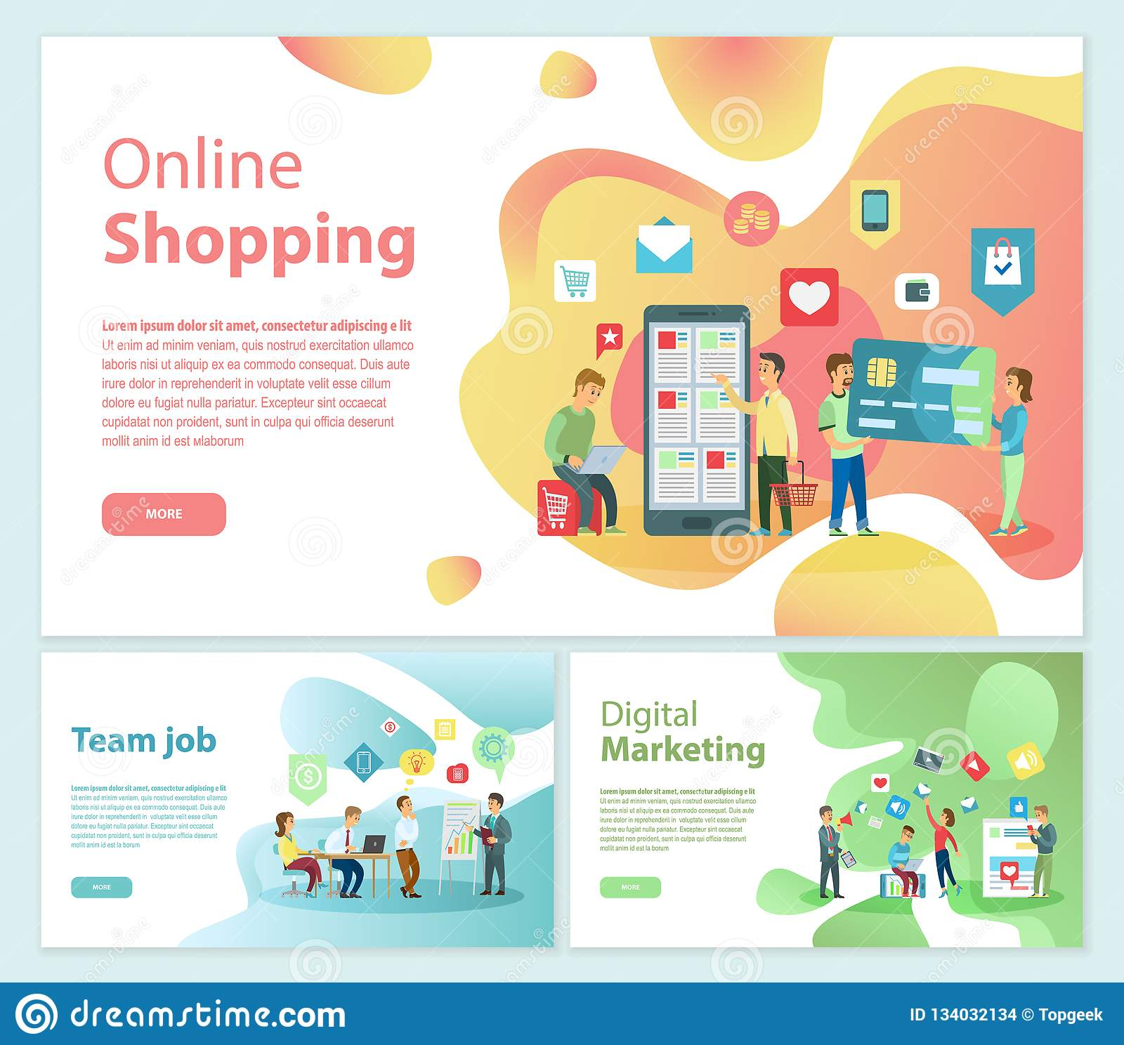 Online Shopping Team Job Posters Text Set Vector Stock Vector - Illustration of mobile, internet