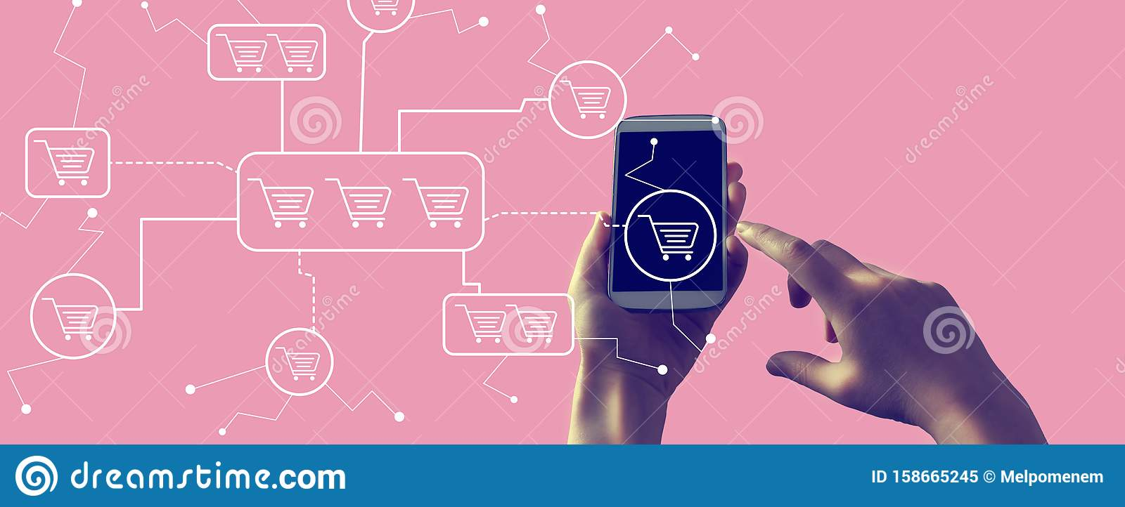 Online shopping theme with smartphone