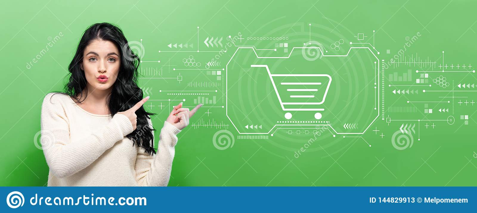 Online shopping theme with young woman