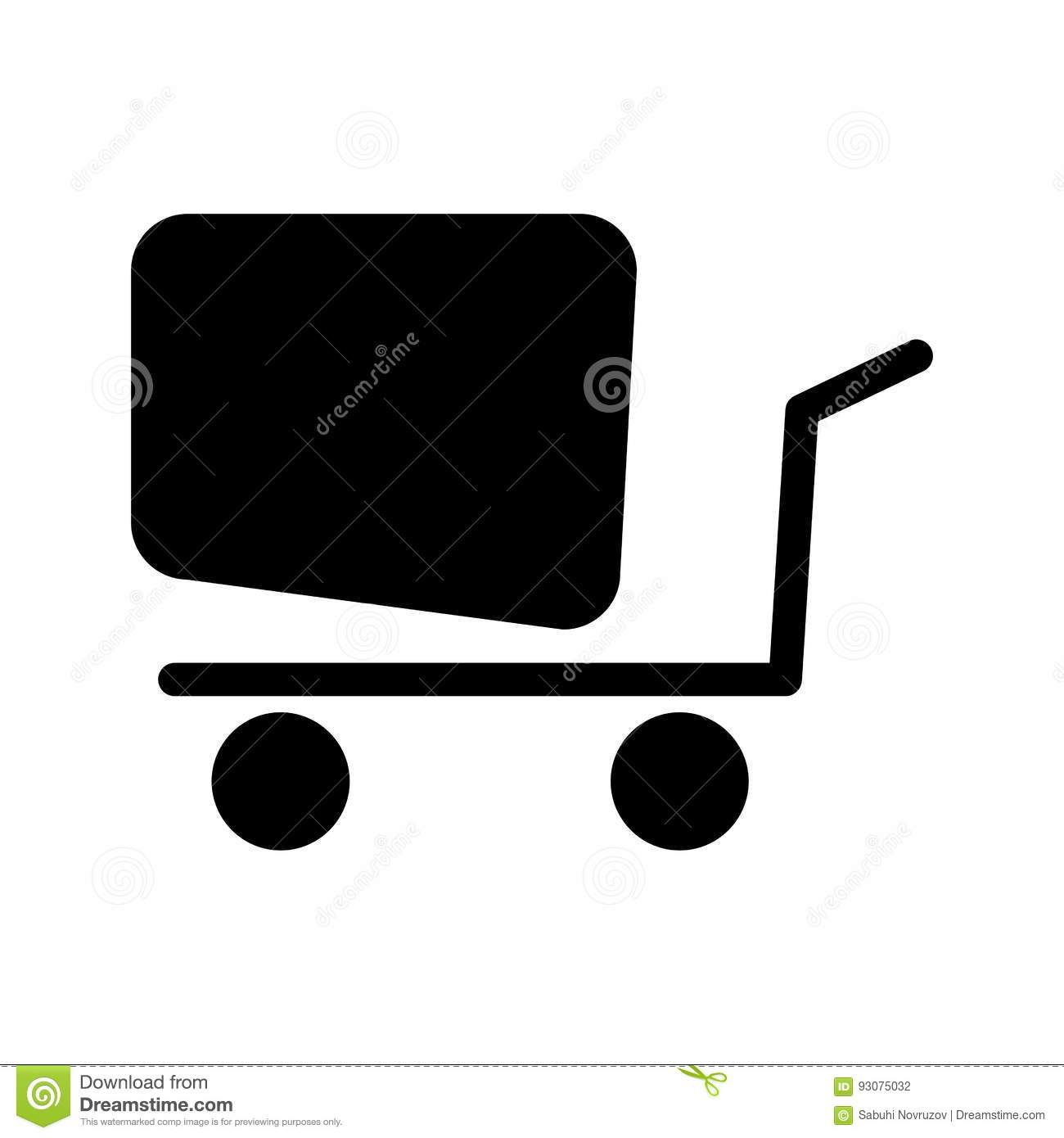 Online shopping vector icon black and white shopping cart illustration solid linear business icon