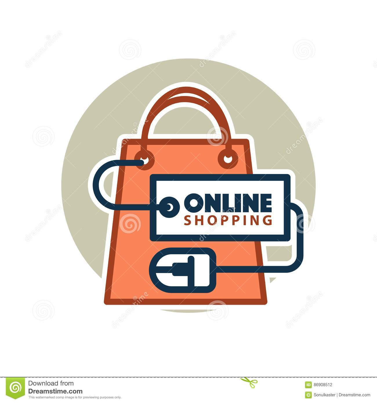 Online Shopping Vector Web Icon Of Bag And Computer Mouse Stock