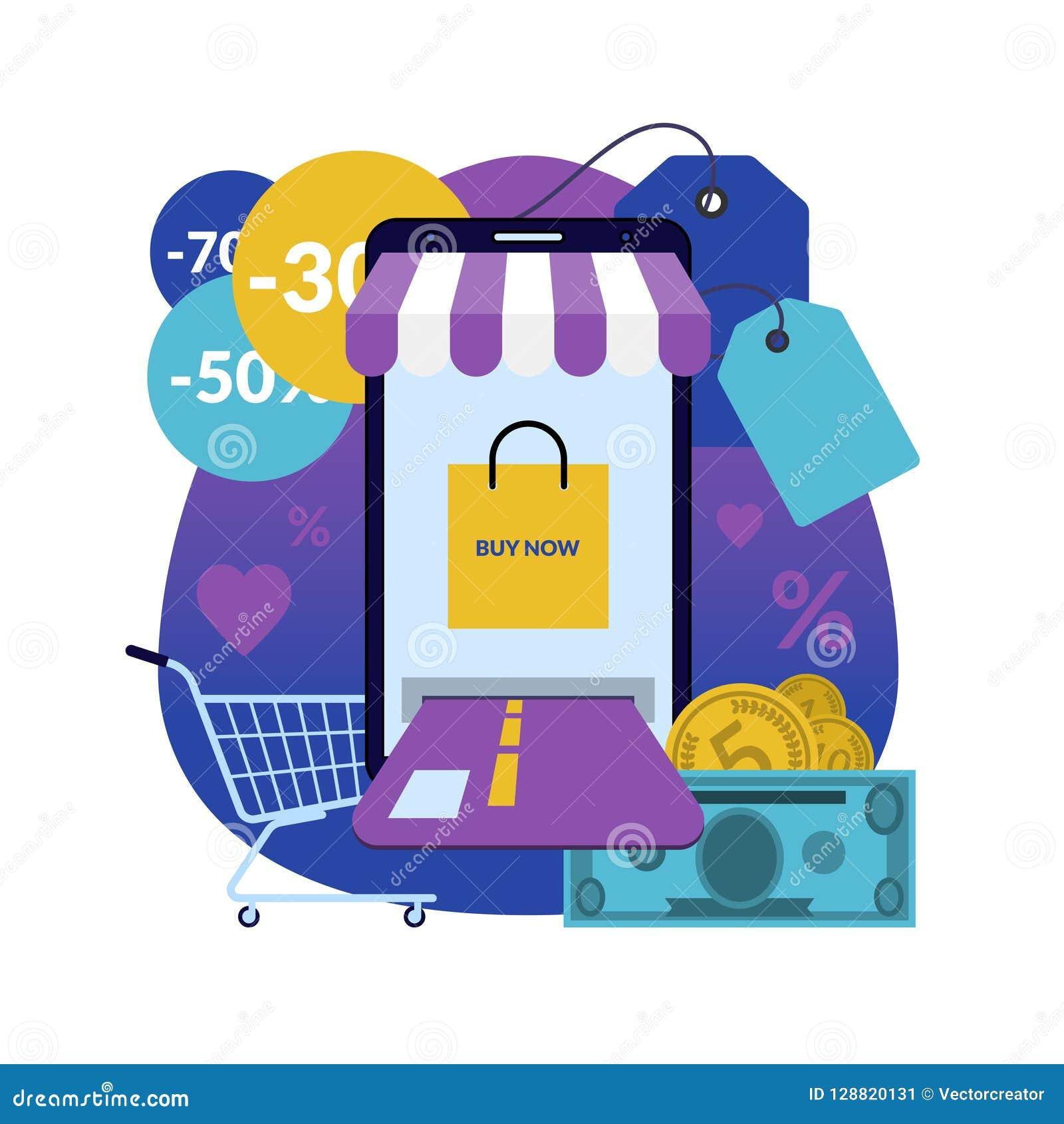 42881f907b7 Online Shopping Via Smartphone Stock Vector - Illustration of ...