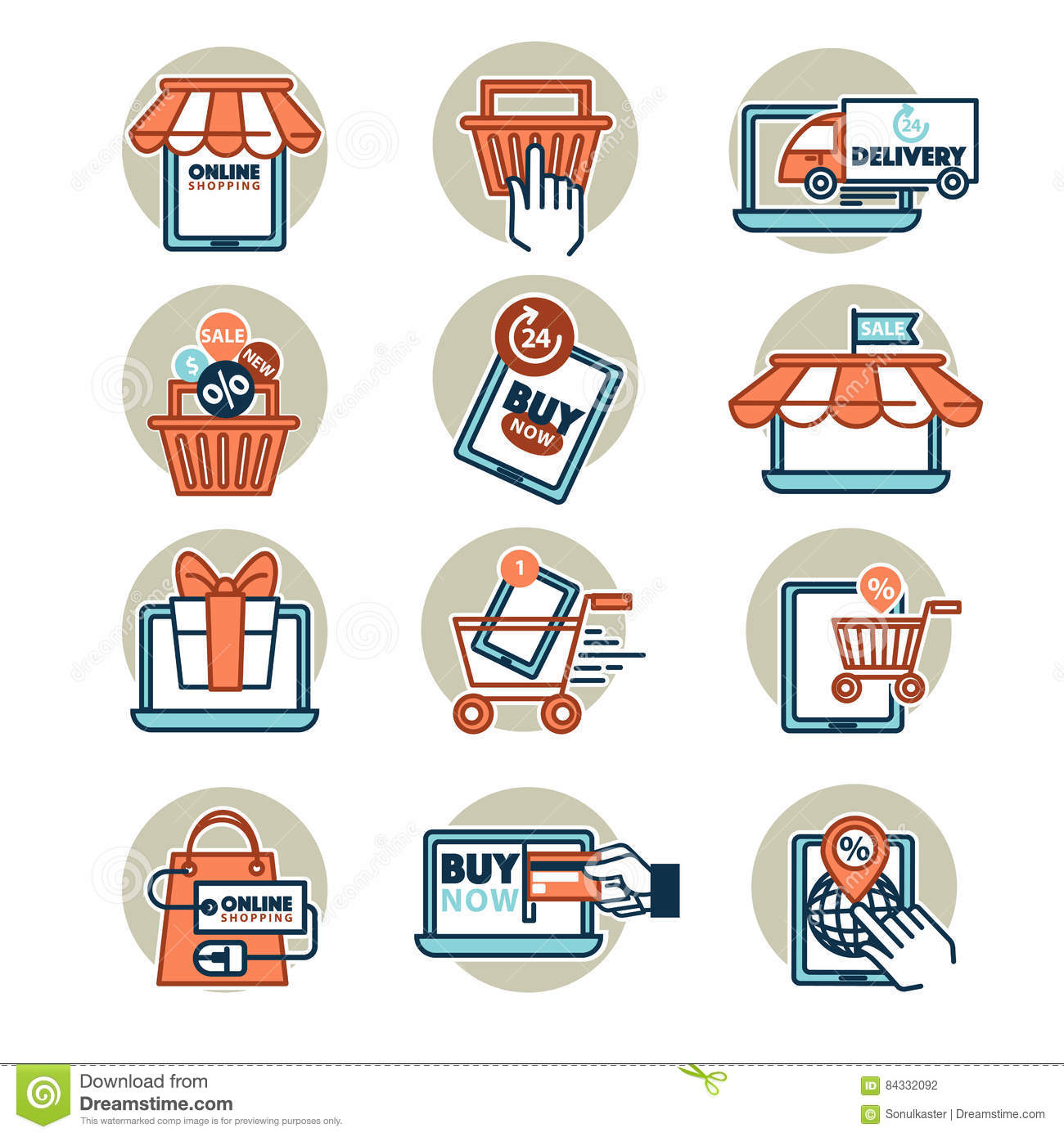Online Shopping Web Icons Set Stock Vector Illustration Of Mobile