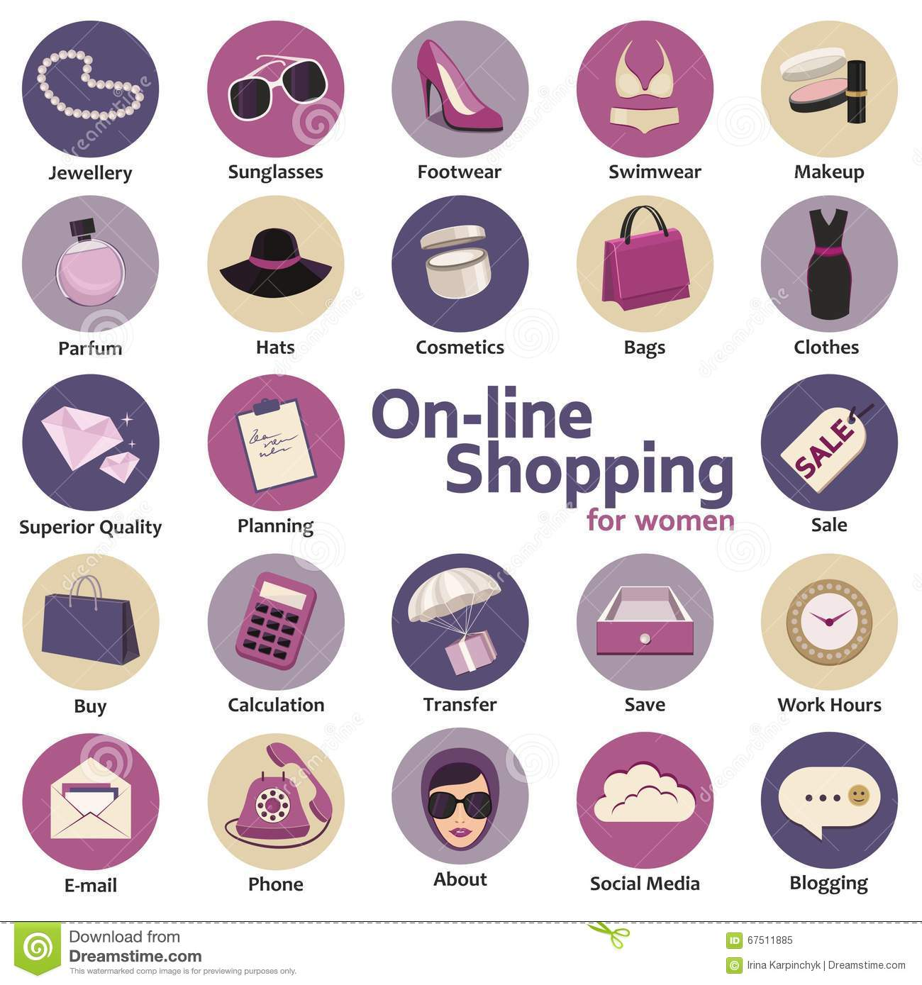 f3f554853c0 Colorful illustration of the concept of the online store facilities for  women