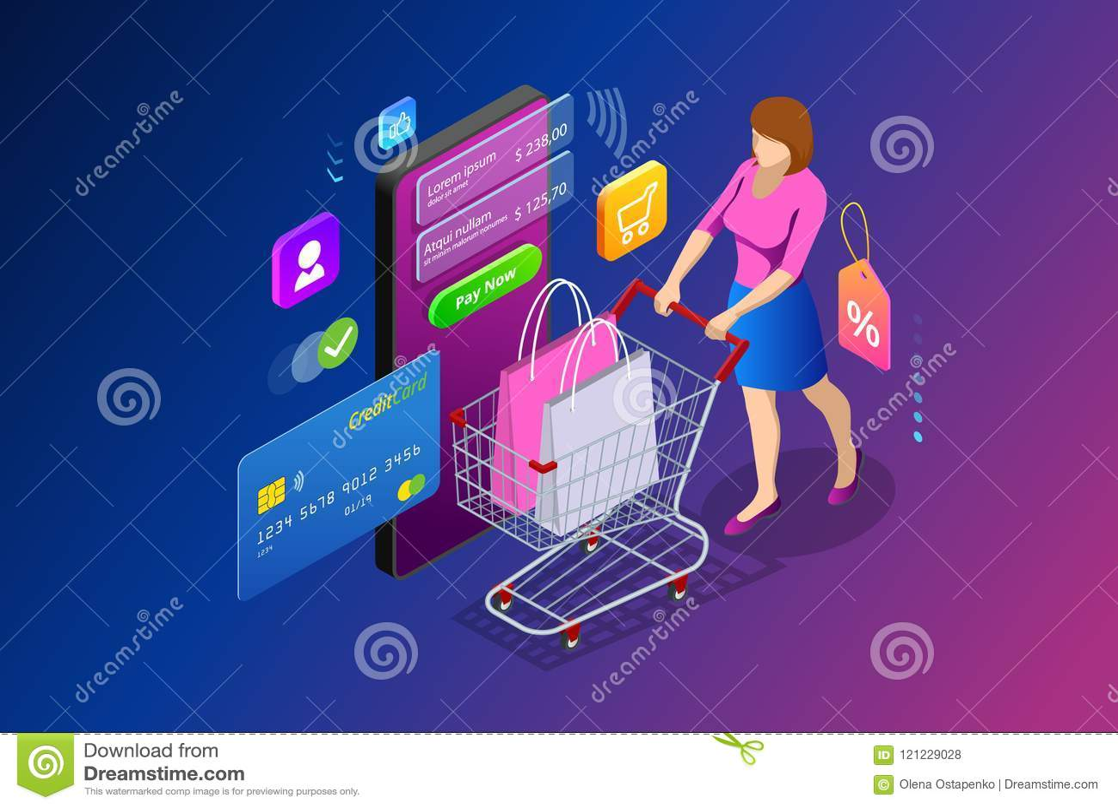 Online-shoppingbegrepp för isometrisk smart smartphone Smartphone vände in i internet shoppar Mobil marknadsföring och e