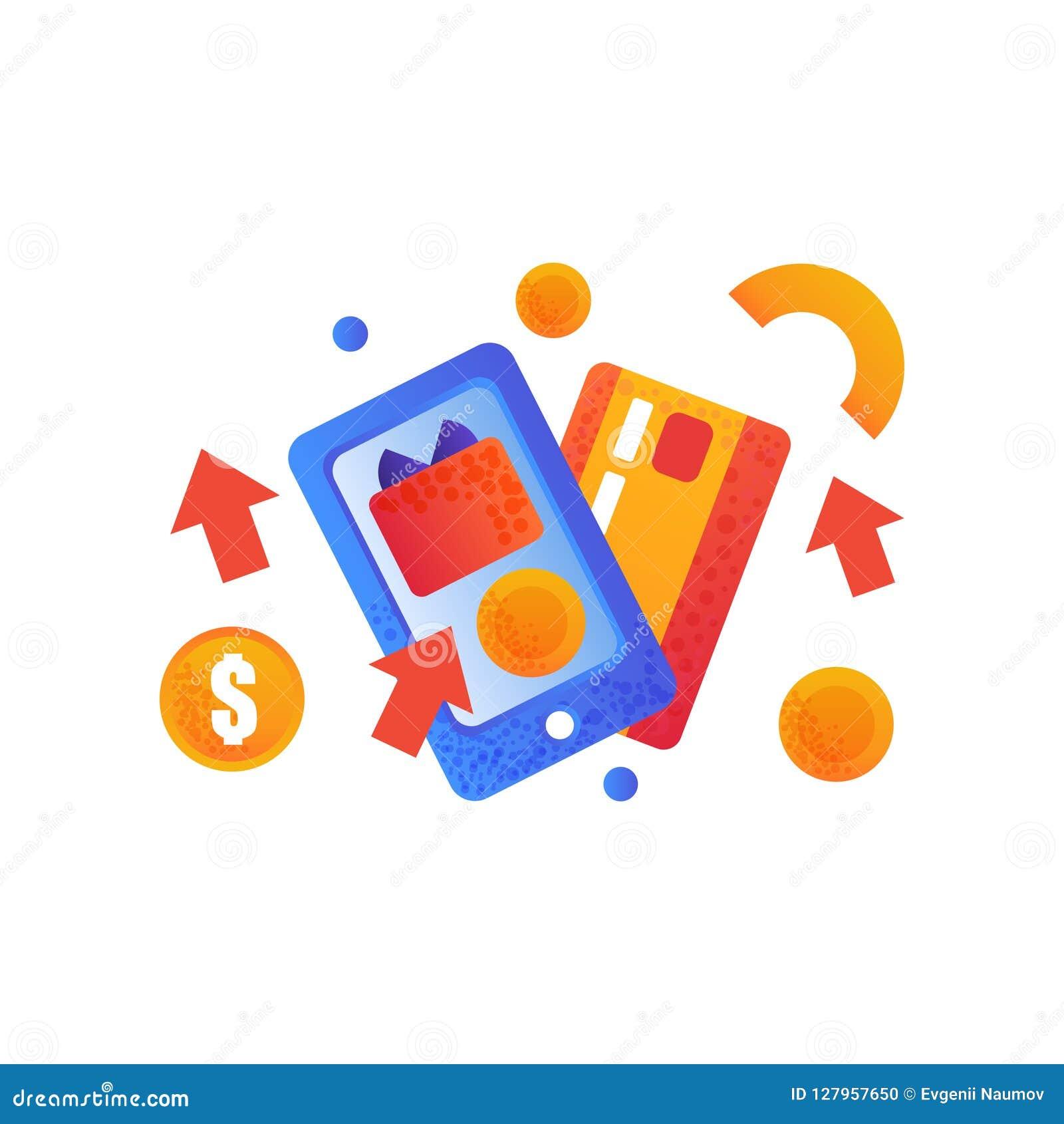 Online-shoppingsymboler, kreditkort och smartphone, illustration för e-kommers begreppsvektor på en vit bakgrund