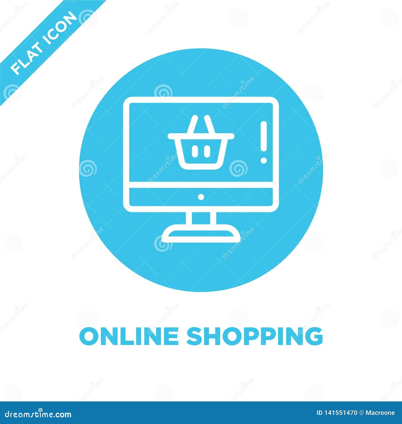 Online-shoppingsymbolsvektor Tunn linje online-shoppa illustration för översiktssymbolsvektor online-shoppa symbol för bruk på re