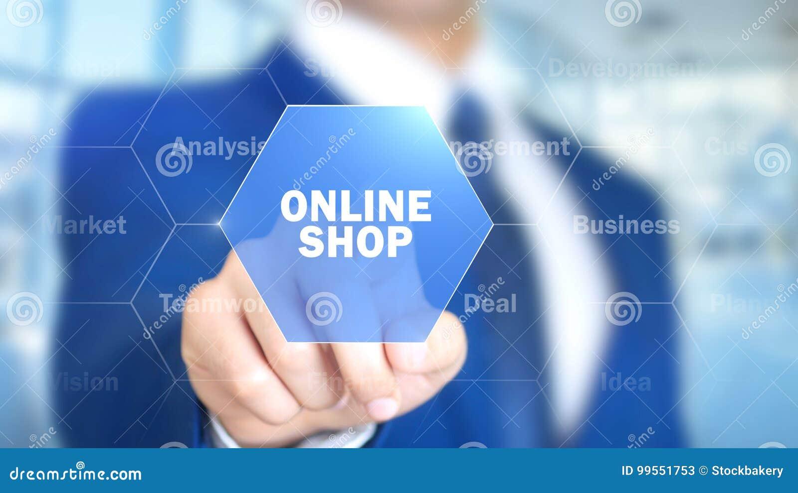 Online sklep, mężczyzna Pracuje na Holograficznym interfejsie, projekta ekran