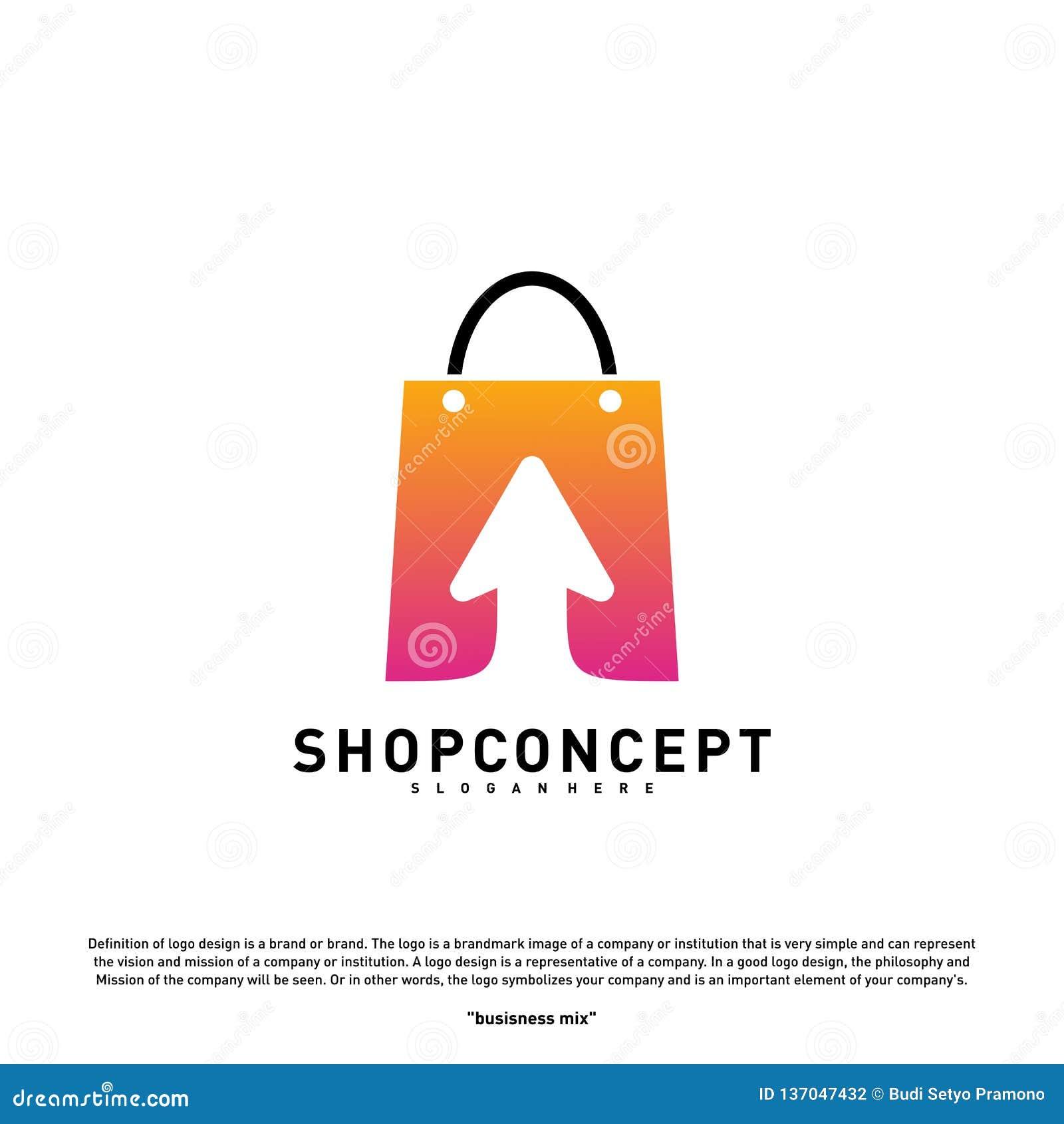Online Sklepowy logo projekta pojęcie Online centrum handlowe logo wektor Online sklepu i prezentów symbol