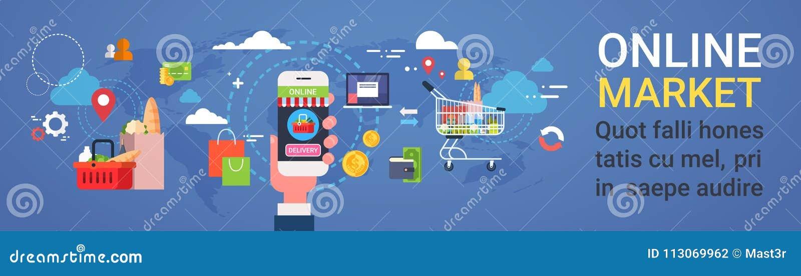 Online-Smart för marknadshandinnehav som telefon beställer banret för begrepp för leverans för för produktlivsmedelsbutikshopping