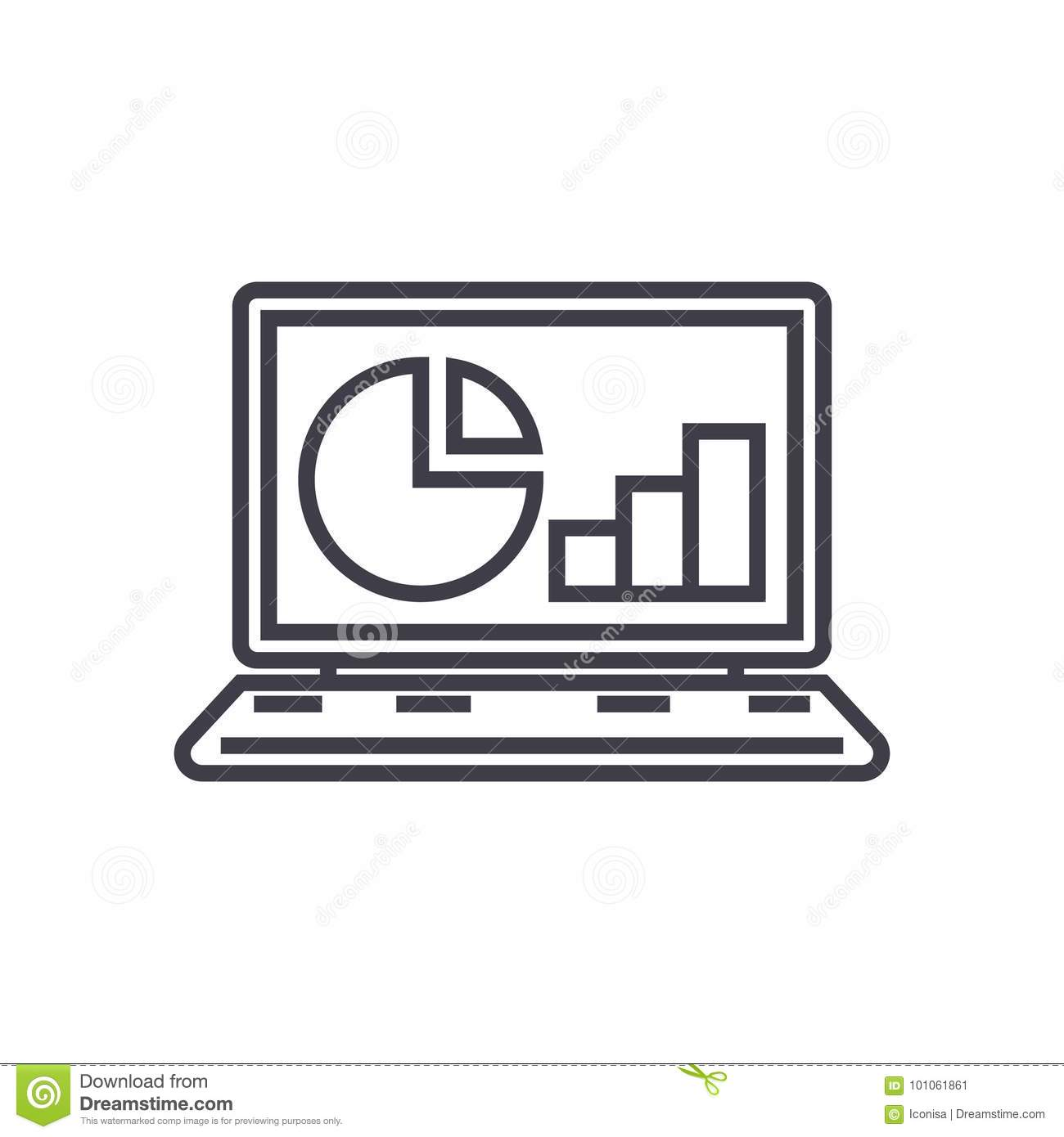 Online statistics, data analytics vector line icon, sign, illustration on background, editable strokes