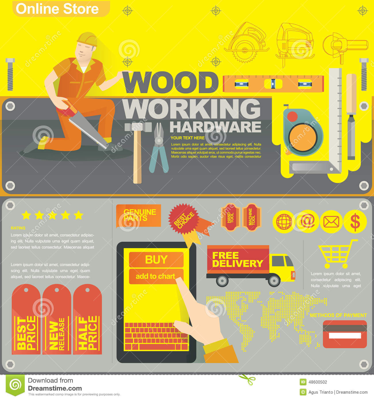 Online Store Banner And Icon For Woodworking Store Stock