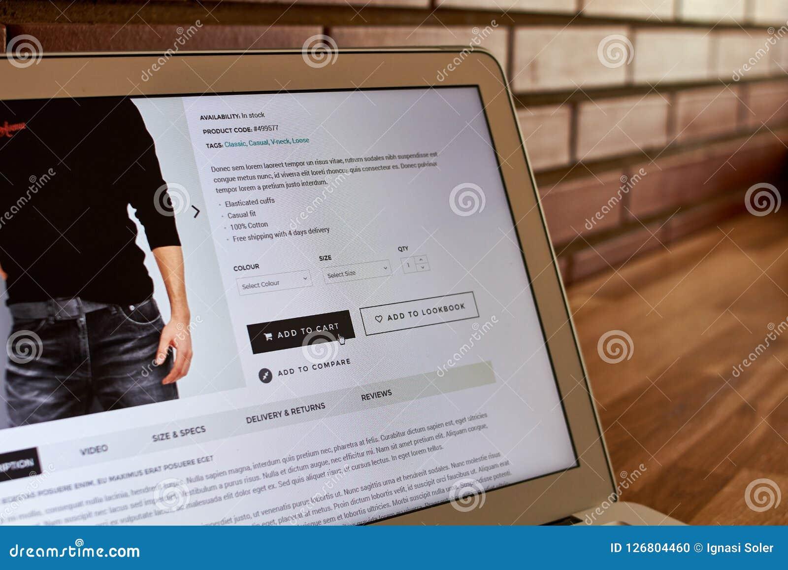 Online store buy screen