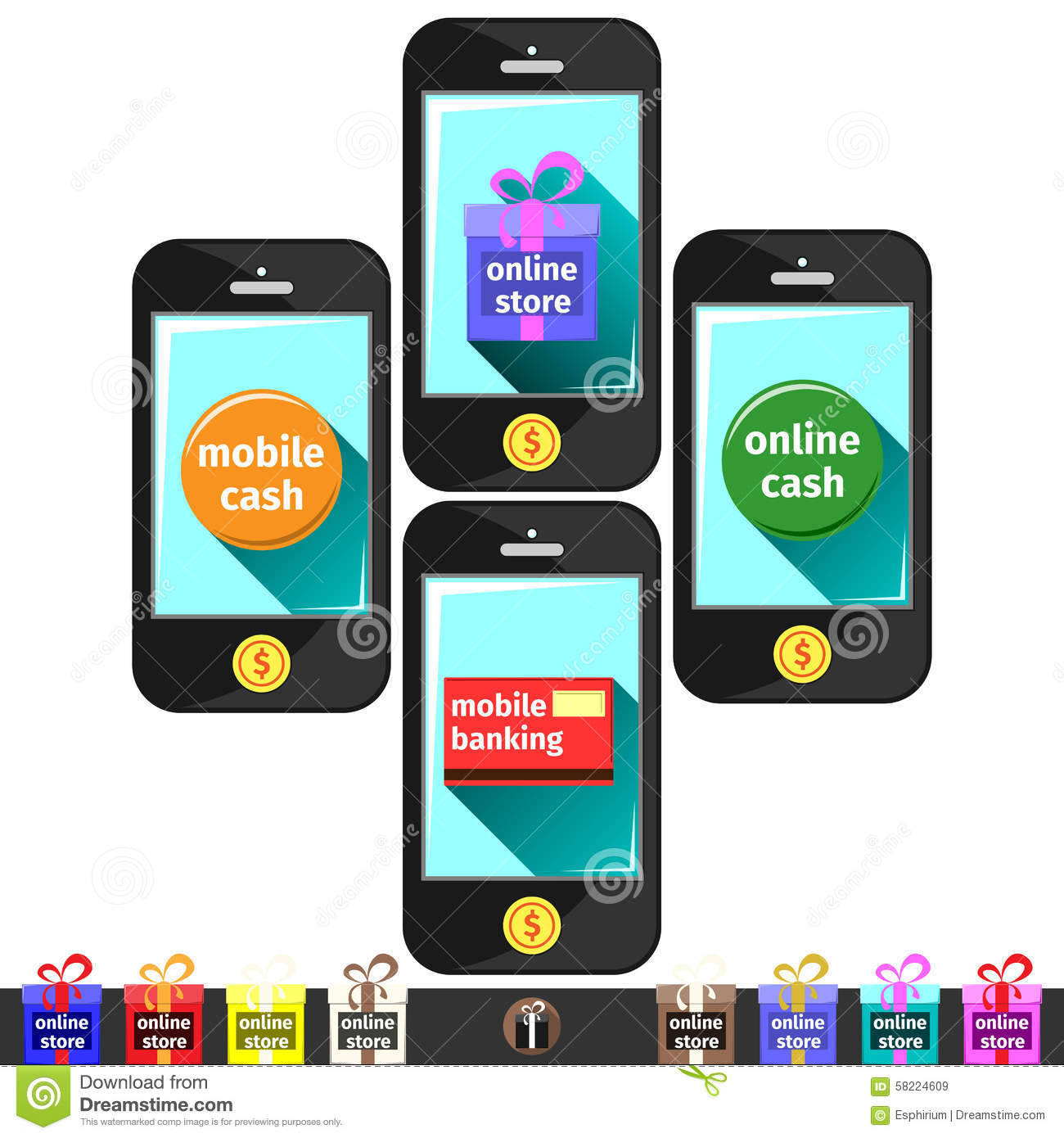 Mobil apps on smart phones stock vector image 58224609 for Shop on line mobili
