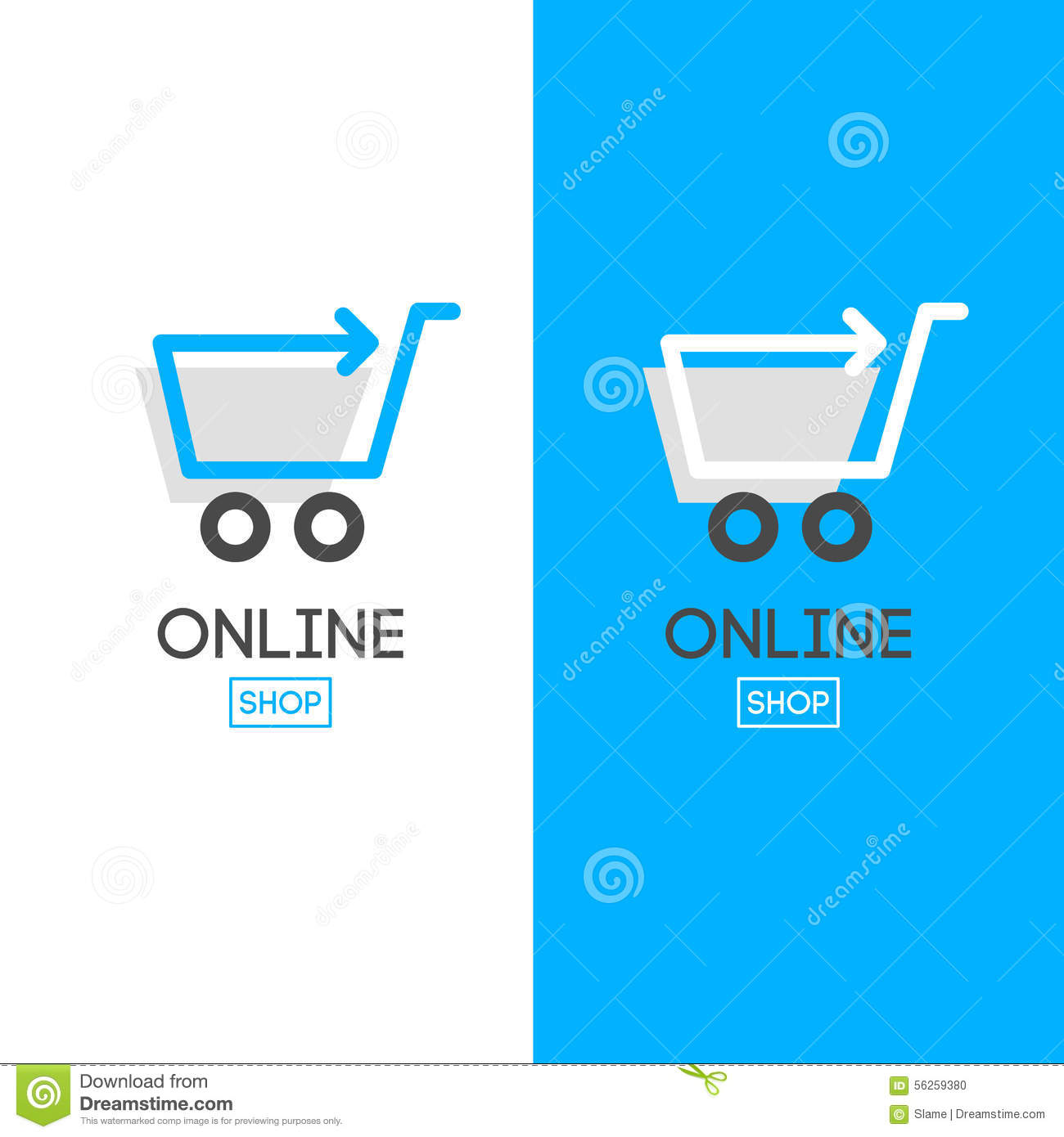 Online store design logo stock vector image 56259380 - Internet shop design ...