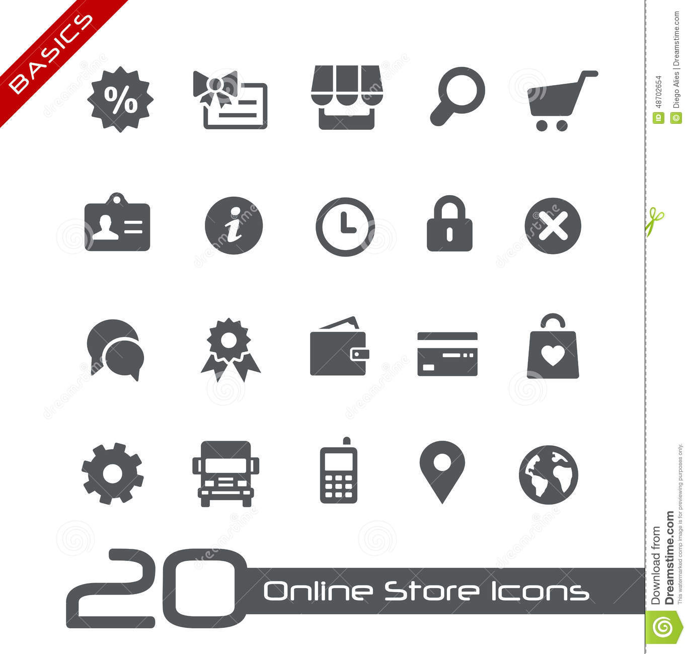 Online store icons basics stock vector illustration for Mobili store online