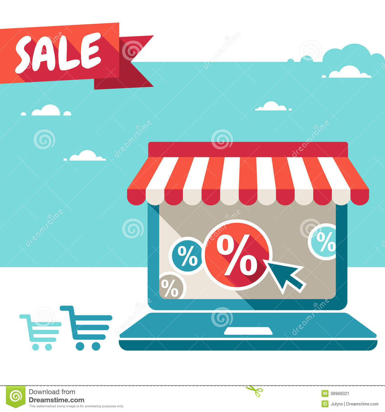 online store laptop with awning stock image image of