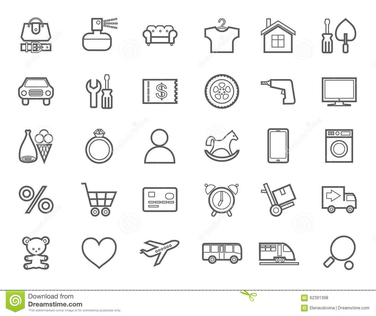 Online Store Product Categories Icons Linear Monotone Stock