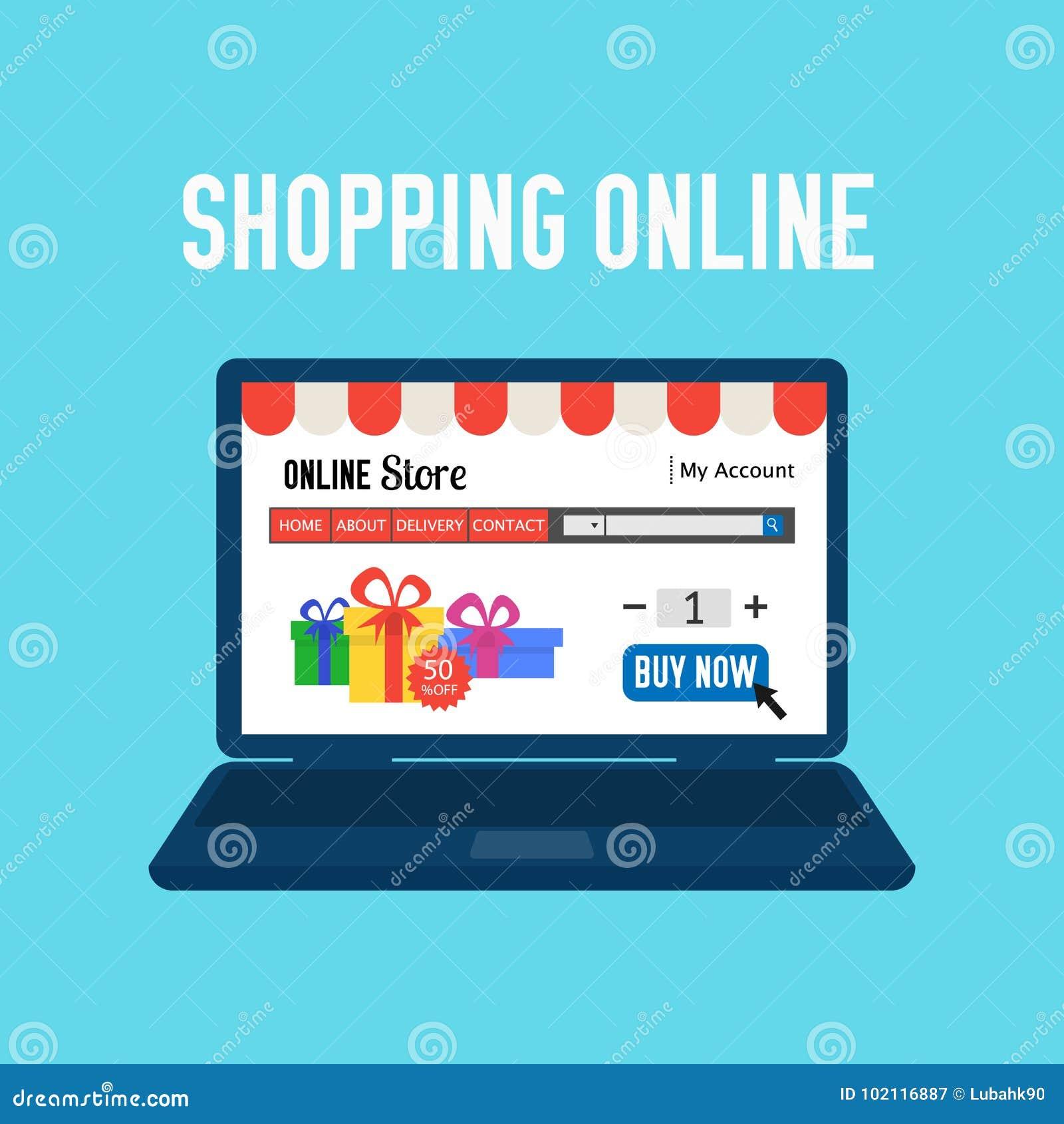 Online store shopping online e commerce shopping concept for Shop mobili online