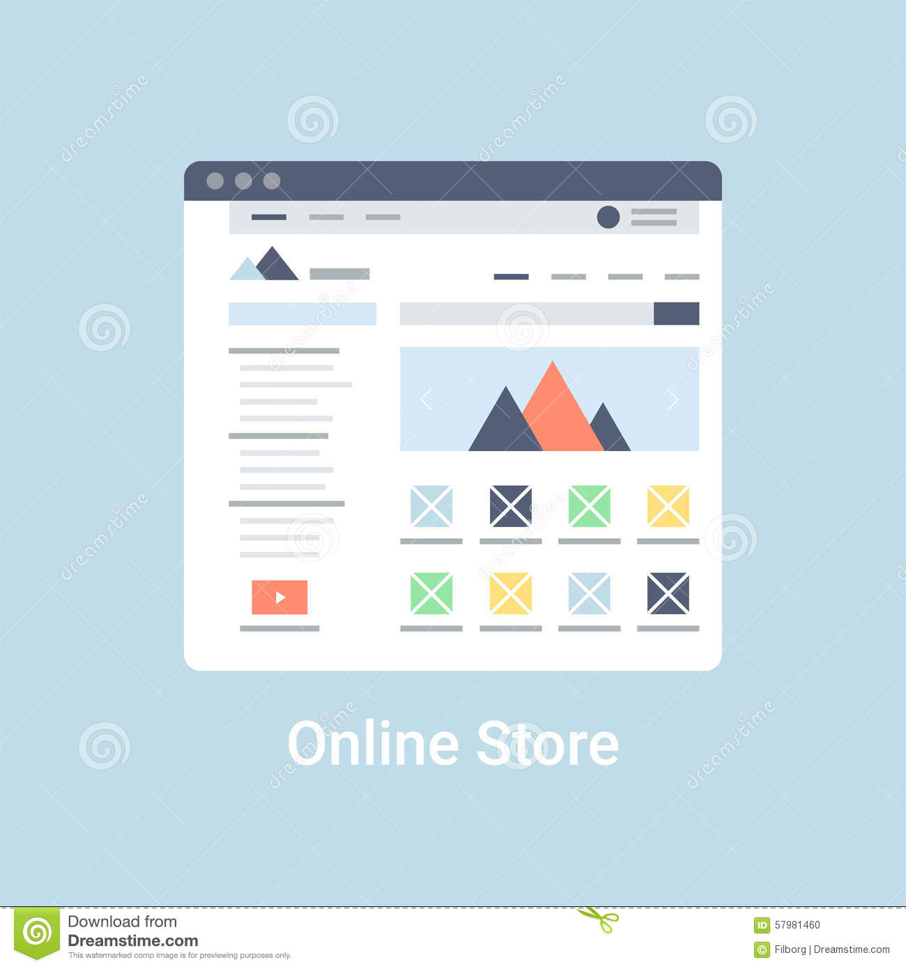 Online Store Wireframe Stock Vector Image 57981460