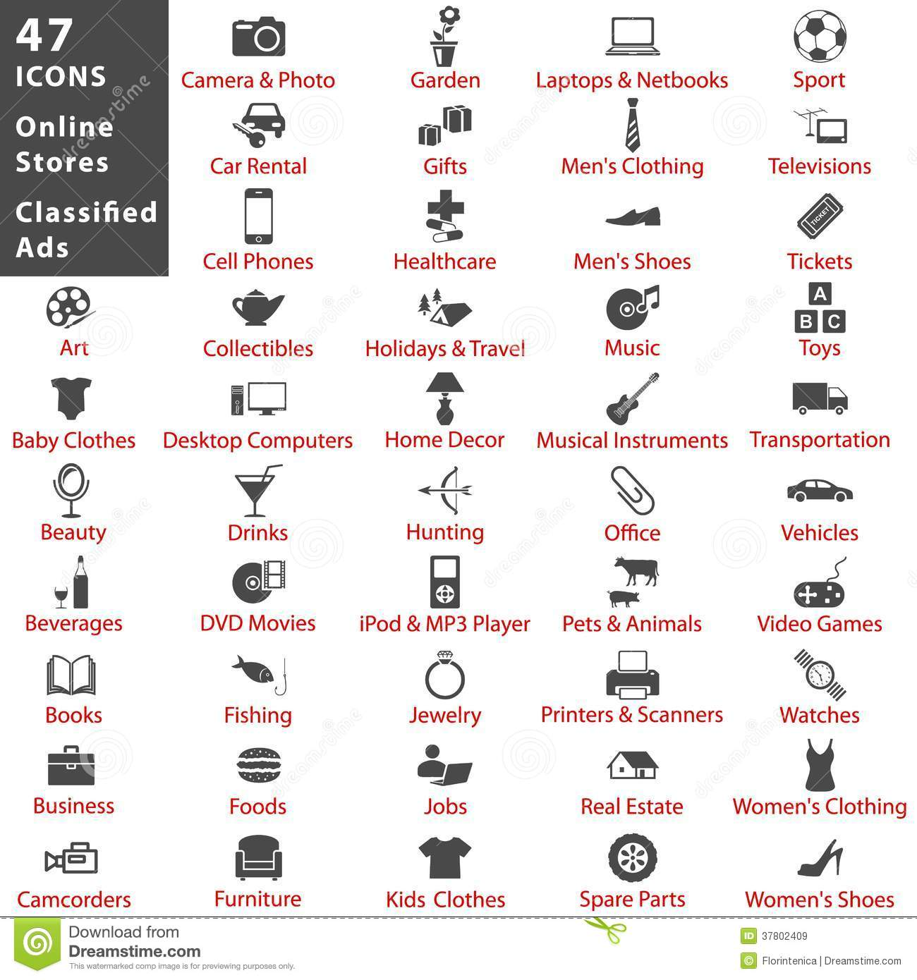 Online Stores And Classified Ads Icon Set Stock Vector