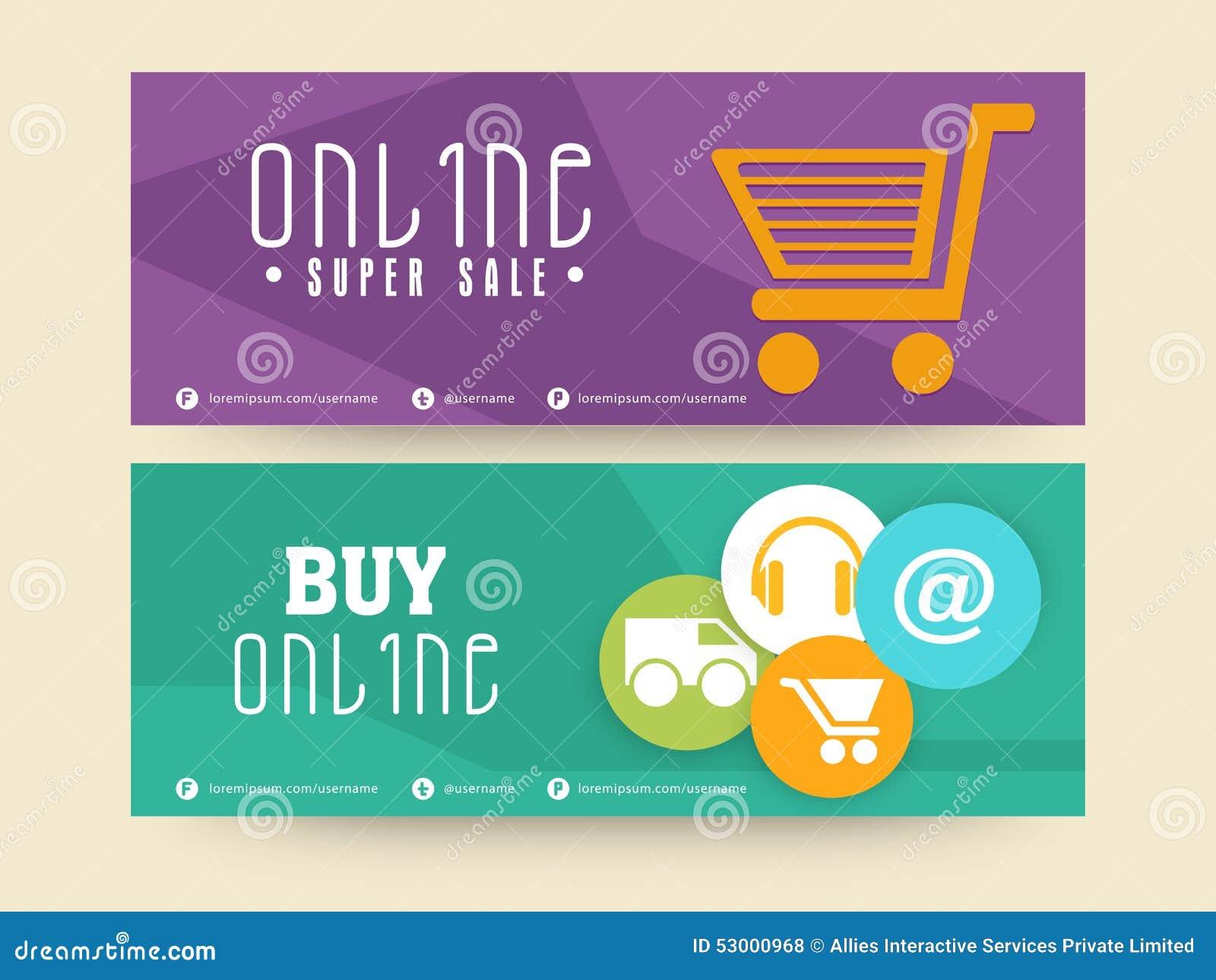 Online super sale header or banner set stock illustration for Online retailer for sale