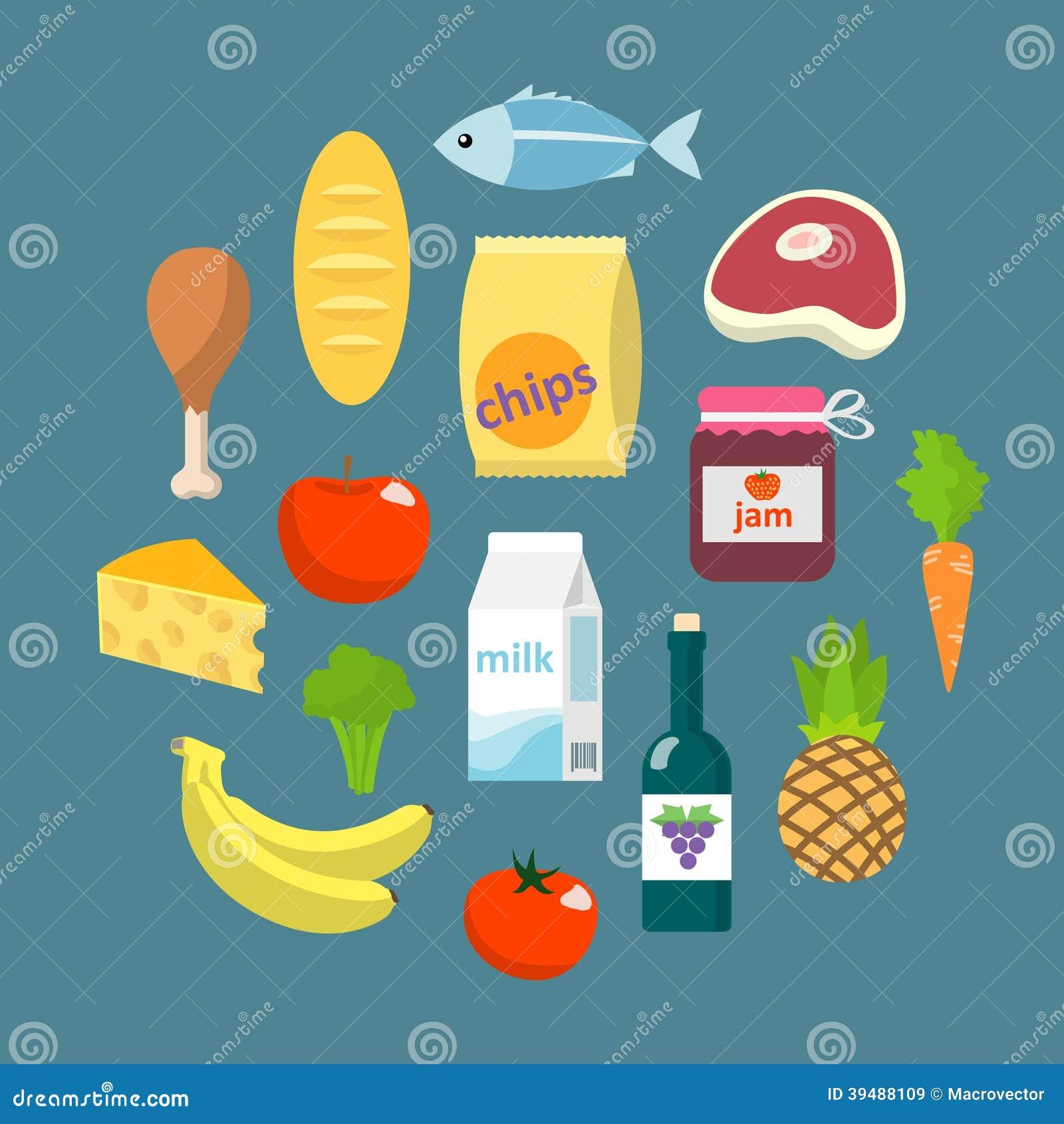 Online Supermarket Foods Flat Concept Stock Vector Image