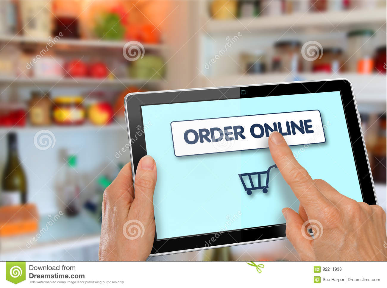 Online Supermarket Shopping Tablet with Hands
