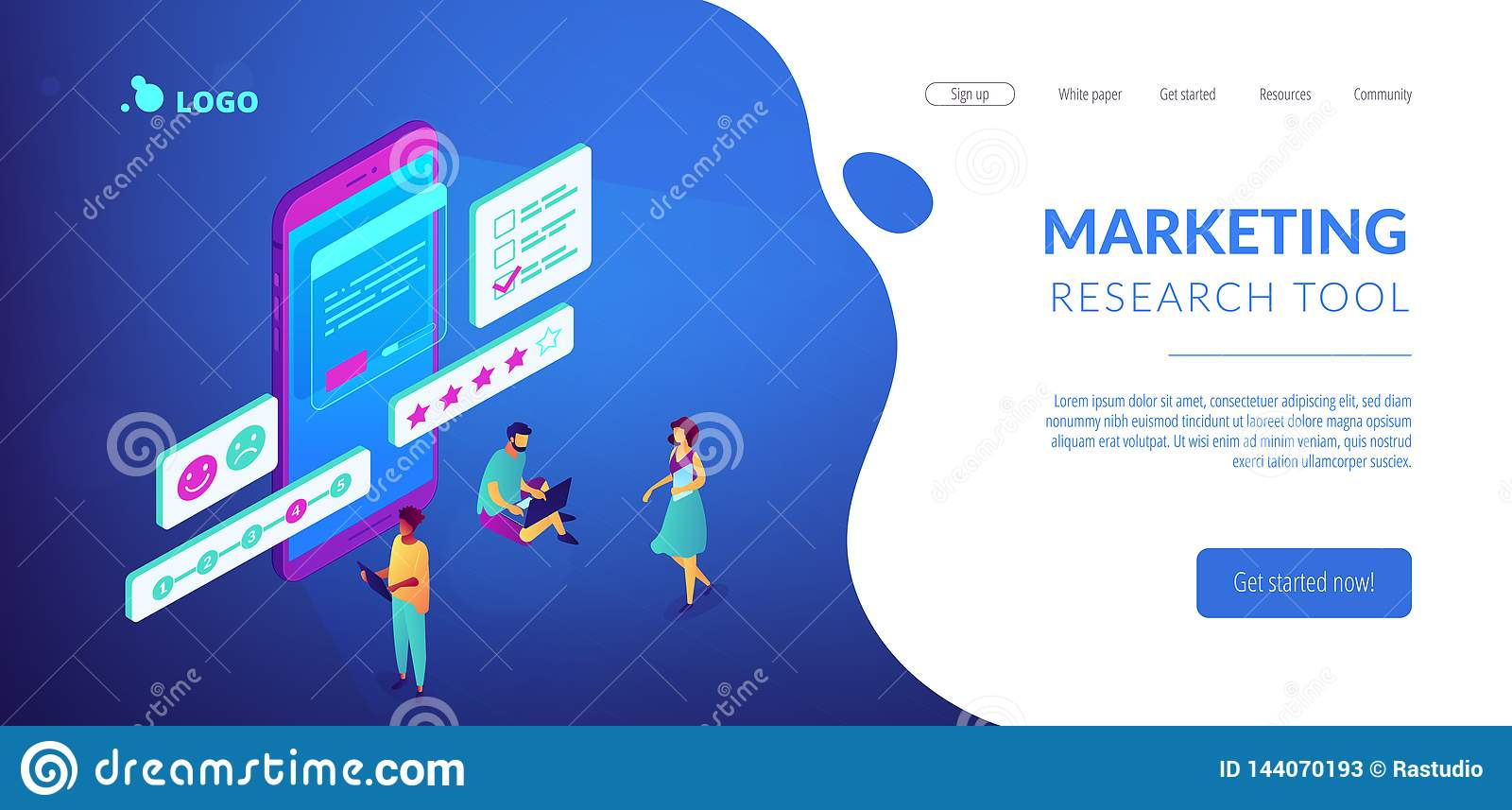Online Survey Isometric 3D Landing Page. Stock Vector ...