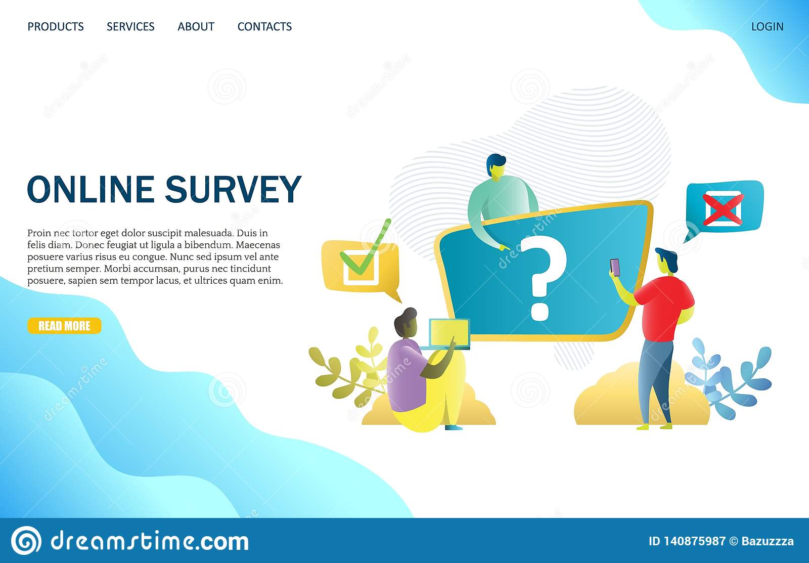 Online Survey Vector Website Landing Page Design Template