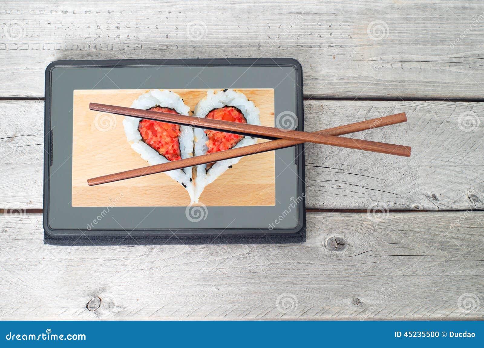 Online-sushimat som beställer begrepp