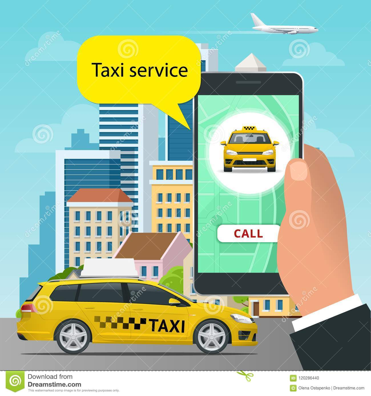 Online Taxi Service Concept Man Orders A Taxi From His Cell Phone