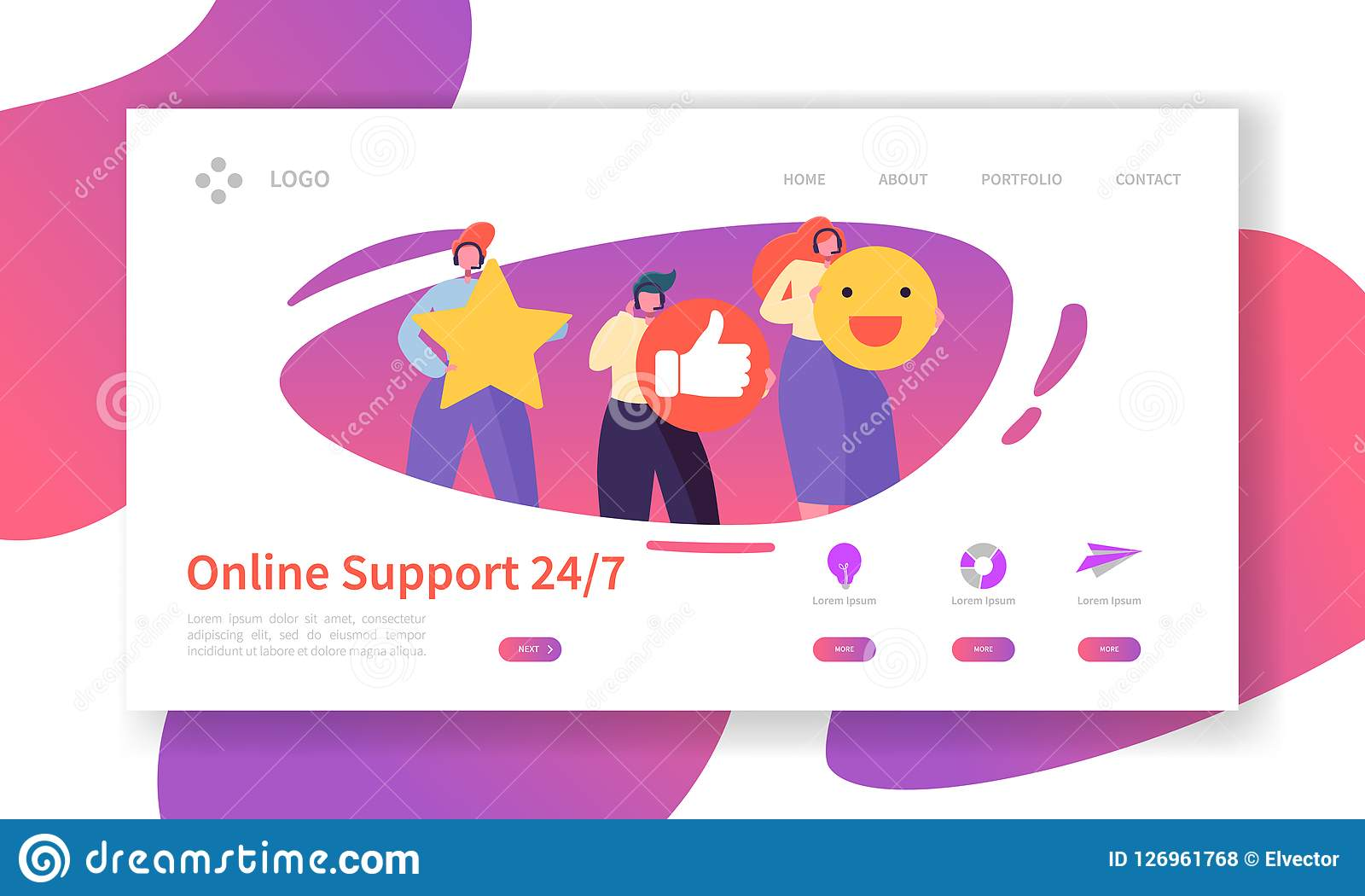 Online Technical Support Landing Page Template  Assistance Service