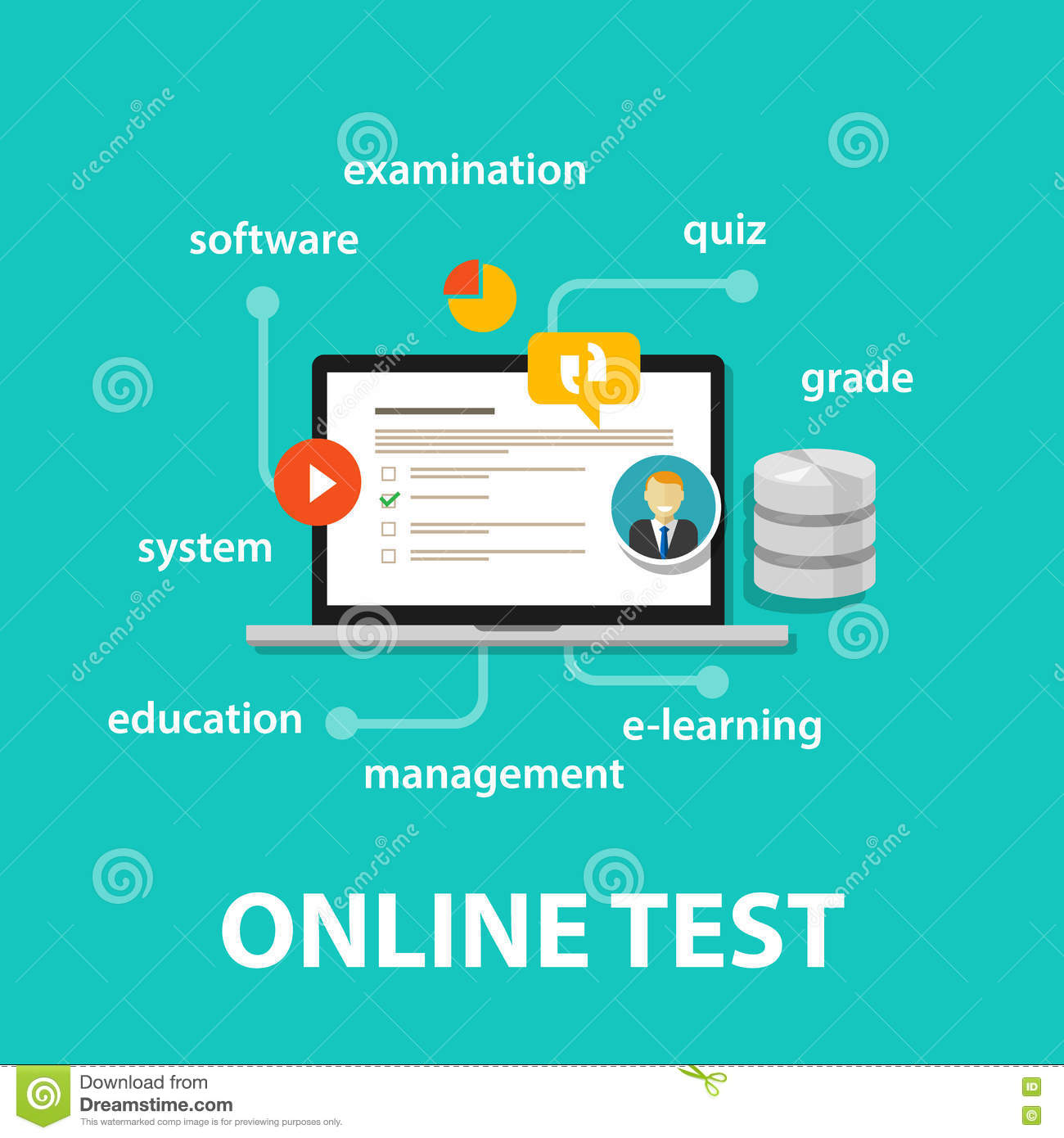 online test exams quiz with computer laptop assessment stock vector image 75660109. Black Bedroom Furniture Sets. Home Design Ideas