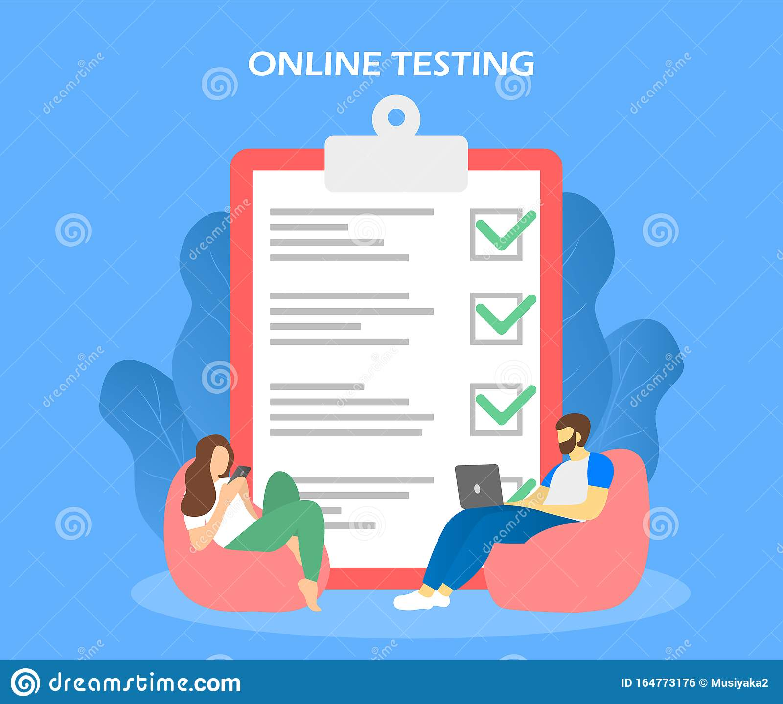 Online Testing Checklist And Students With Laptop Stock Illustration Illustration Of Design Student 164773176