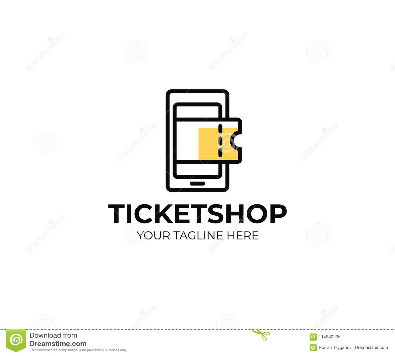 Online Ticket Shop Logo Template Mobile Phone And Tickets Vector