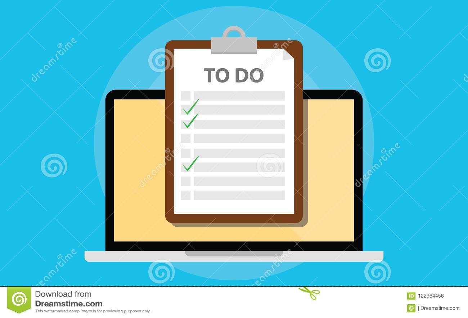 Online todolijst met klembord en laptop en controlelijst op het scherm