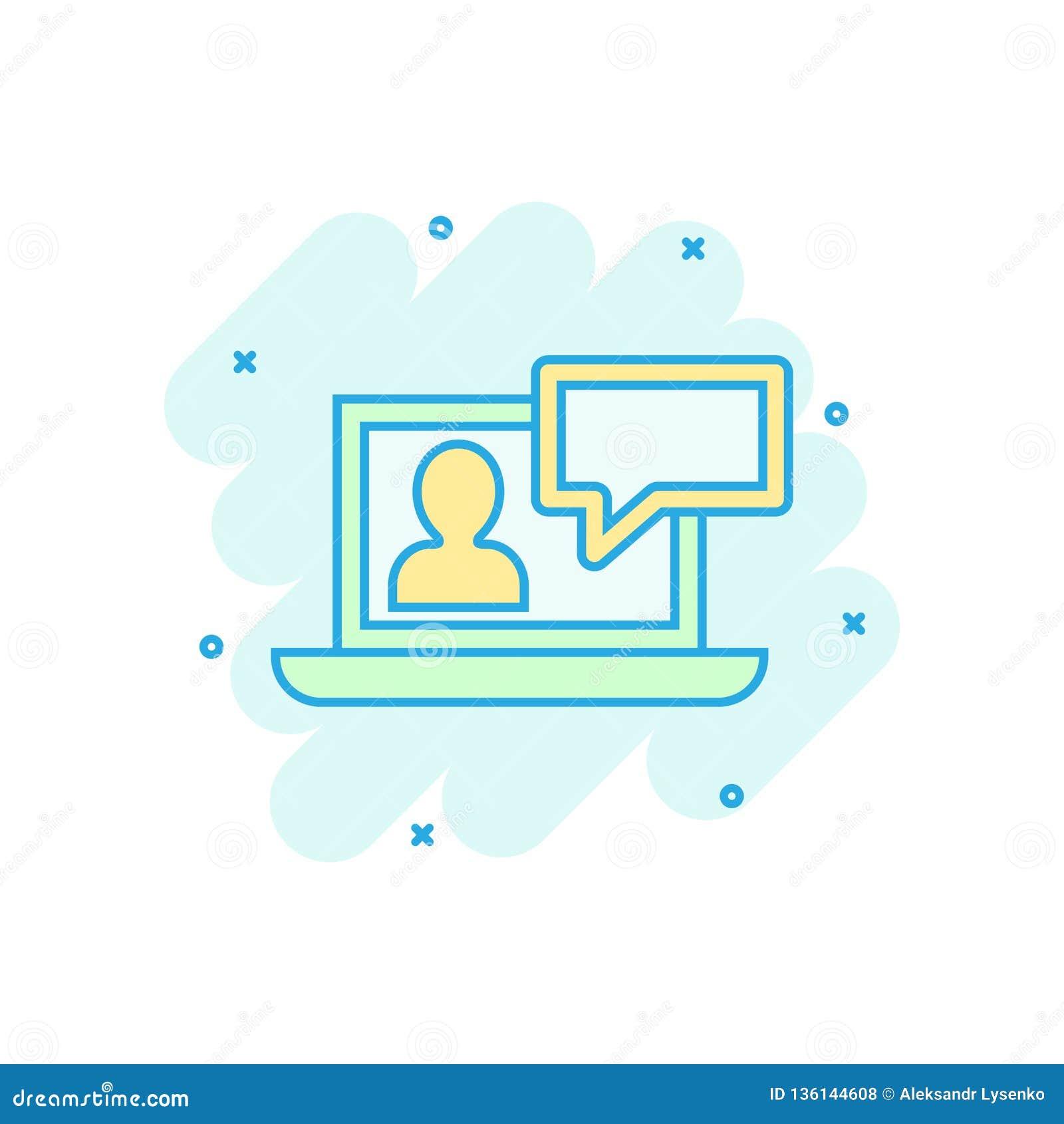 Online training process icon in comic style webinar seminar vector cartoon illustration pictogram e learning business concept splash effect