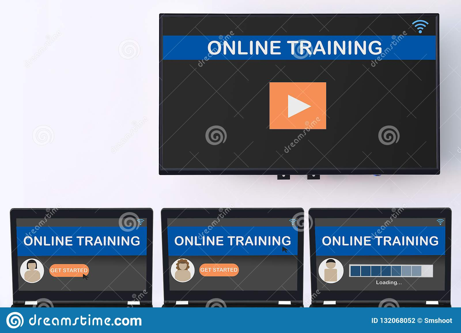 Online Training Screen On Computer And Smart TV Digital