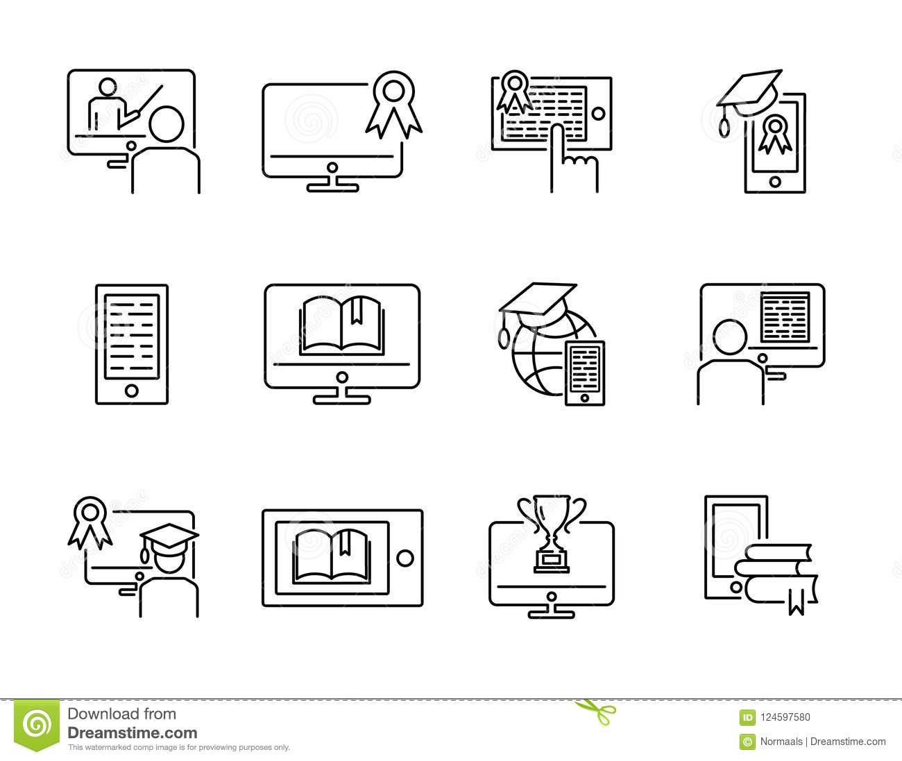 Online training vector illustration icon collection set. Distance internet e learning concept with computer, tablet or phone.