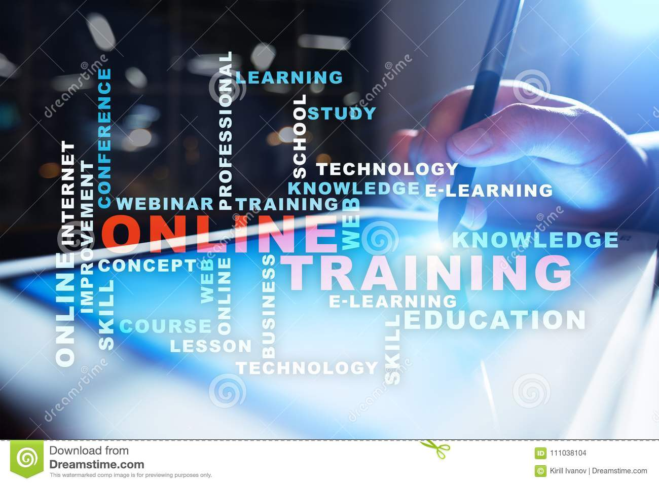 Online Training On The Virtual Screen. Education Concept ...